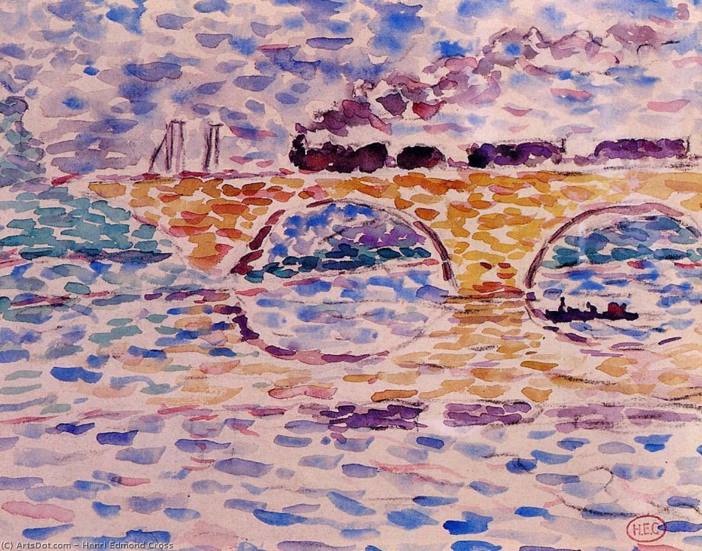 The Viaduct, Watercolour by Henri Edmond Cross (1856-1910, France)