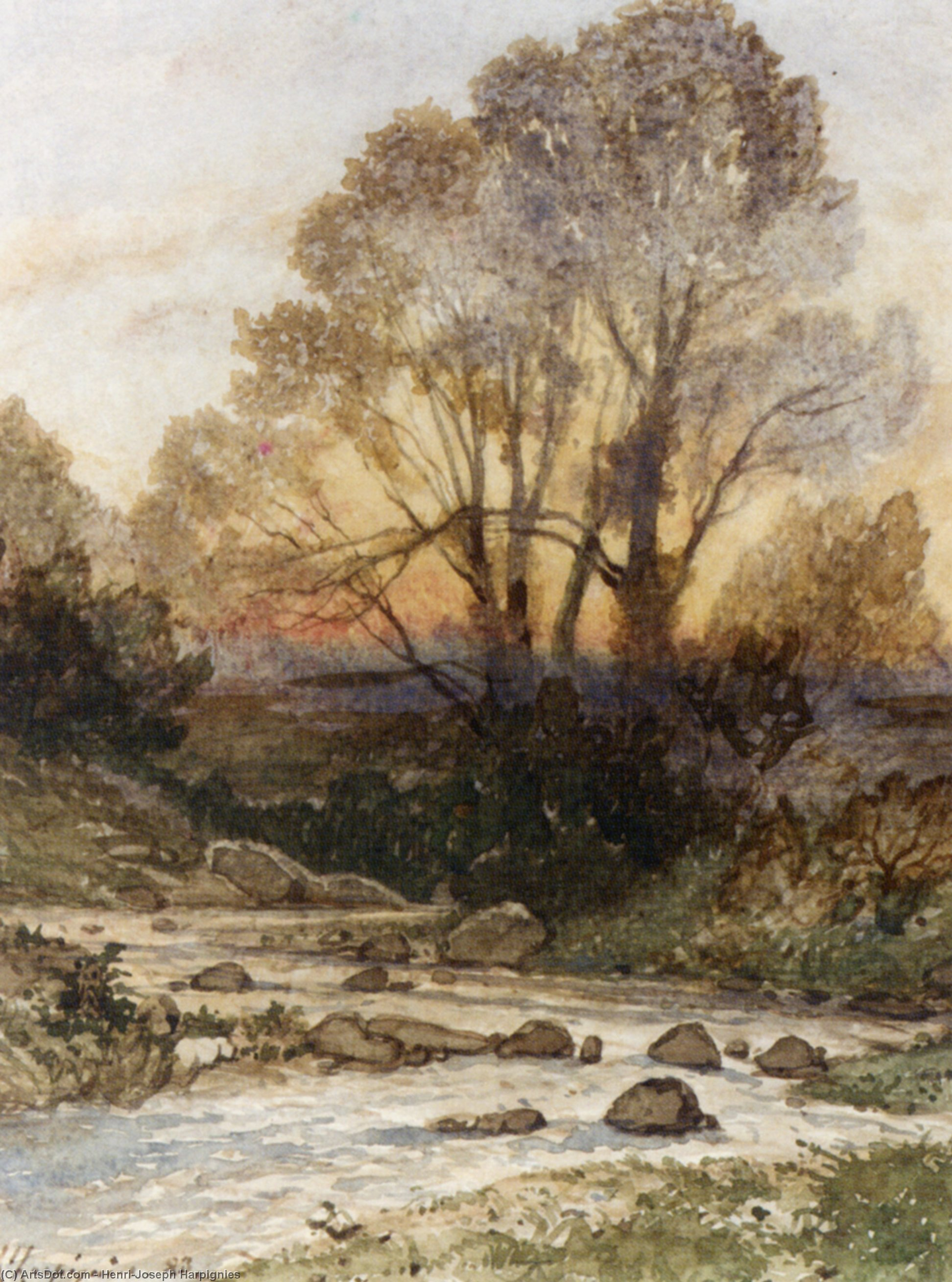 A Rocky Landscape with a Torrent of Water by Henri-Joseph Harpignies (1819-1916, France)