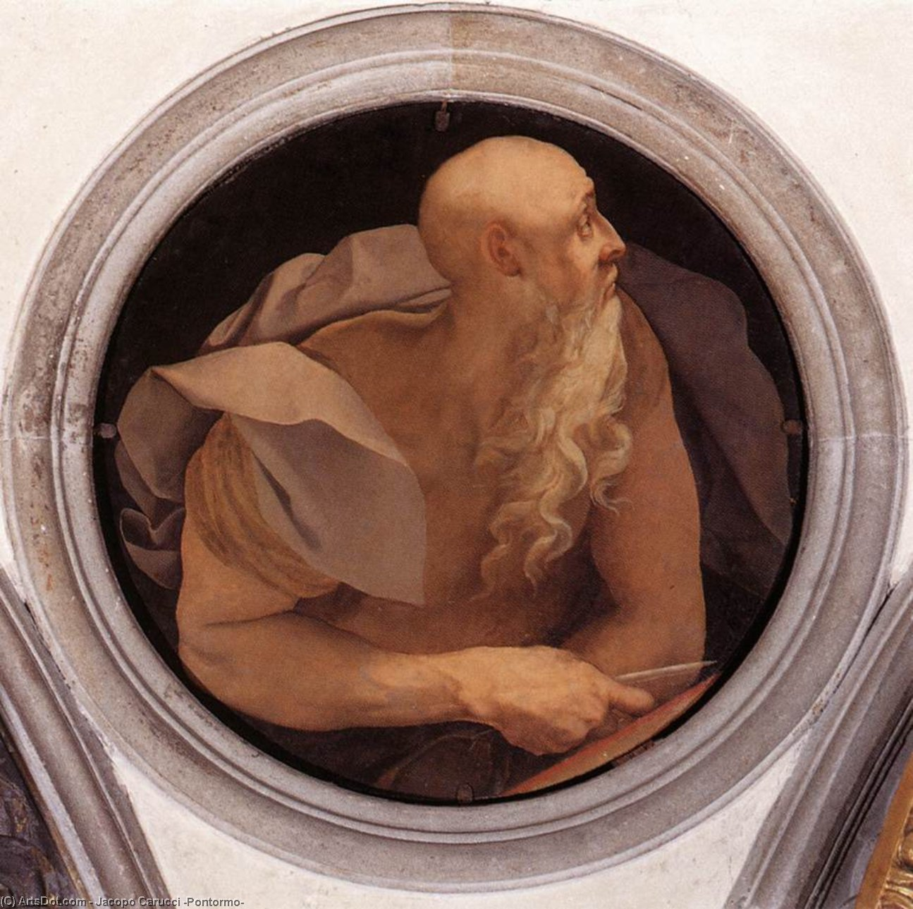 St John the Evangelist by Jacopo Carucci (Pontormo) (1494-1557, Italy) | Oil Painting | ArtsDot.com