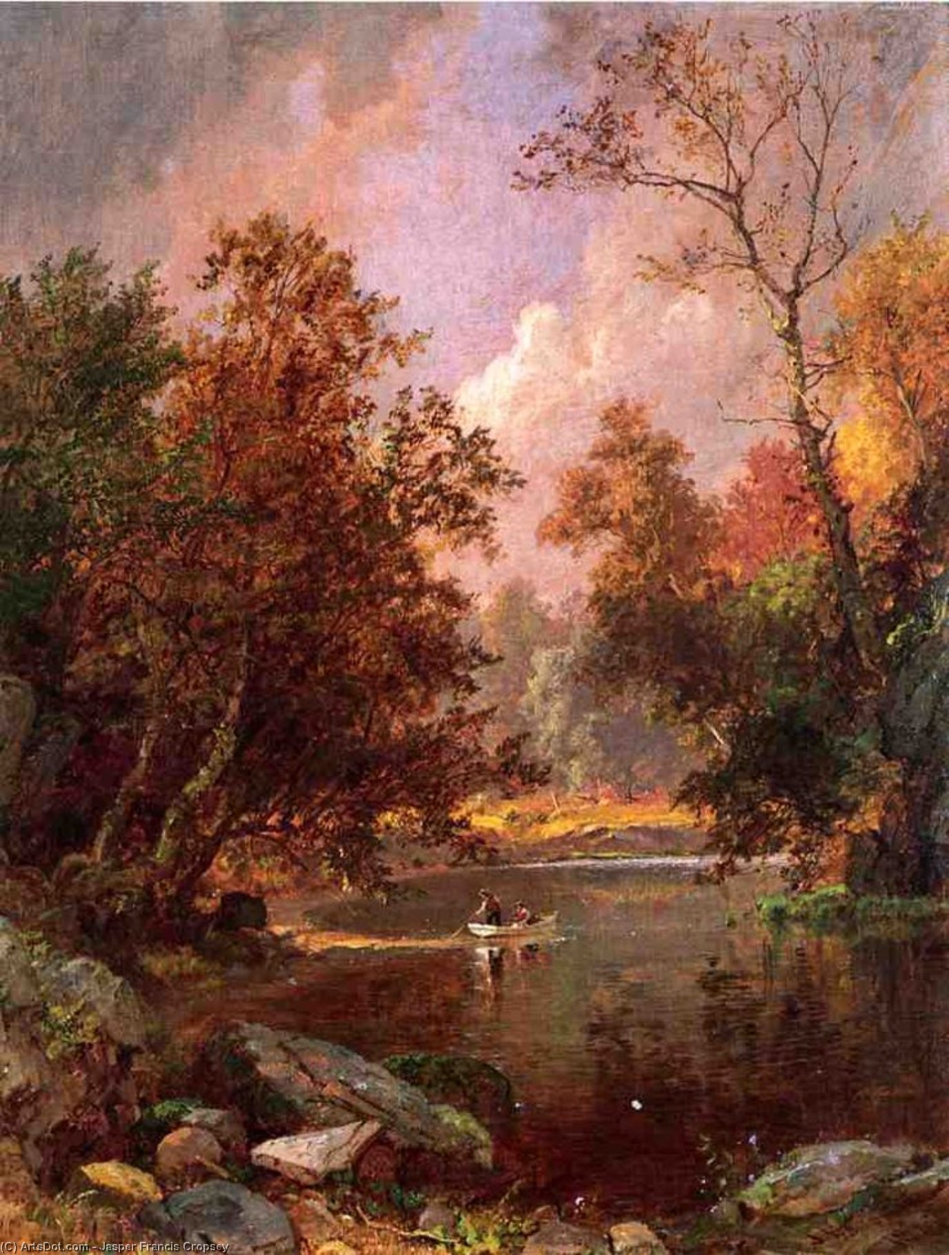 Autumn River Landscape by Jasper Francis Cropsey (1823-1900, United States)