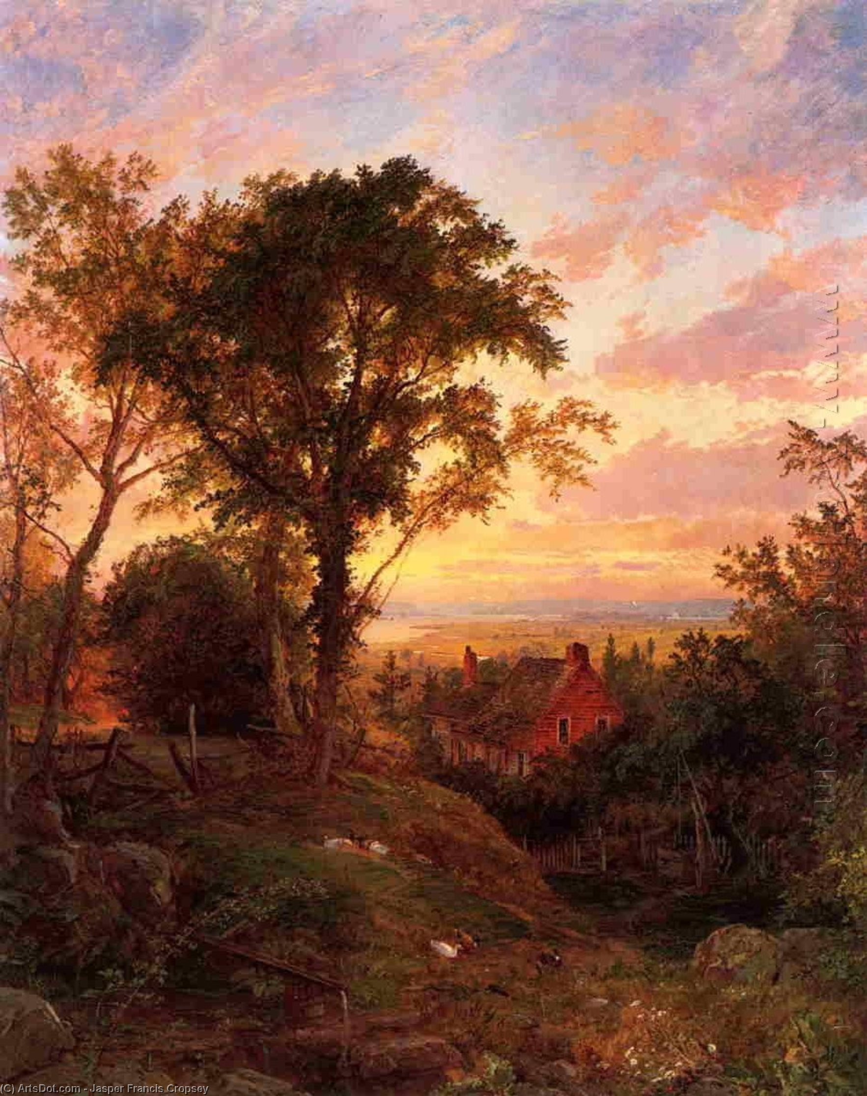The Old Home, Oil On Canvas by Jasper Francis Cropsey (1823-1900, United States)
