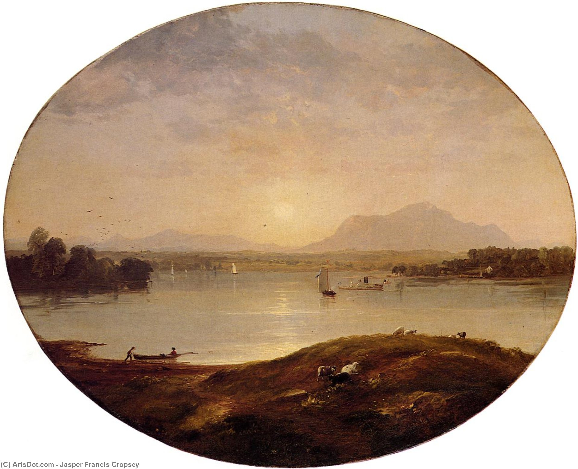 View on the Hudson River, 1852 by Jasper Francis Cropsey (1823-1900, United States) | ArtsDot.com