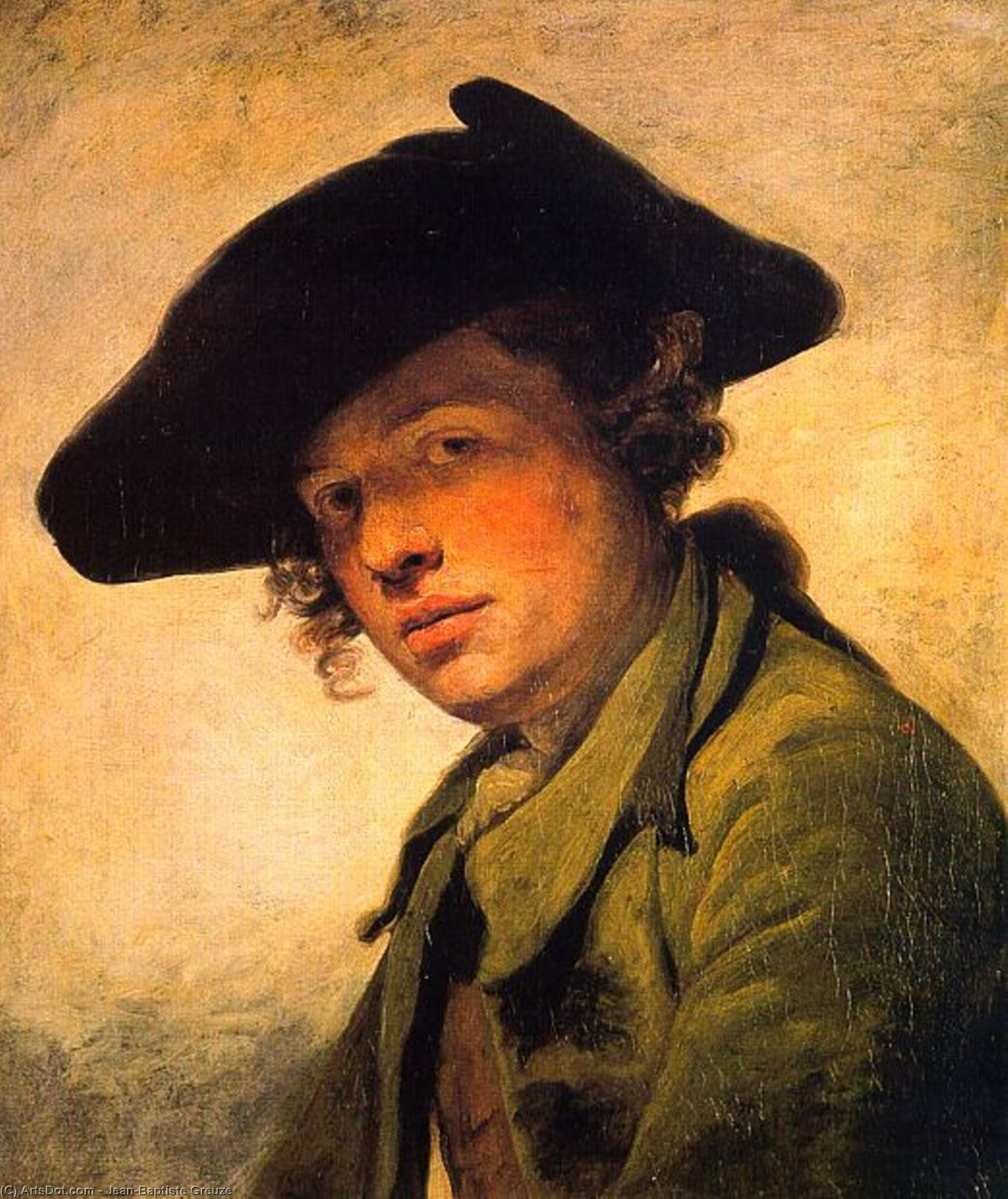 A Young Man in a Hat by Jean-Baptiste Greuze (1725-1805, France) | Art Reproduction | ArtsDot.com