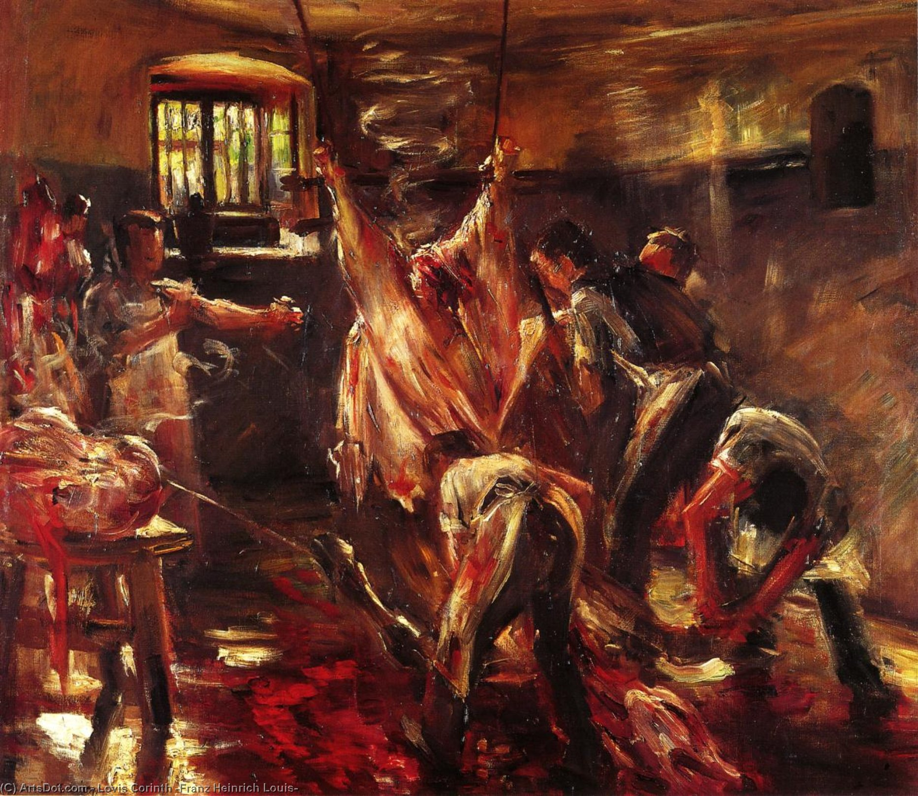 In the Slaughter House, Oil On Canvas by Lovis Corinth (Franz Heinrich Louis) (1858-1925, Netherlands)