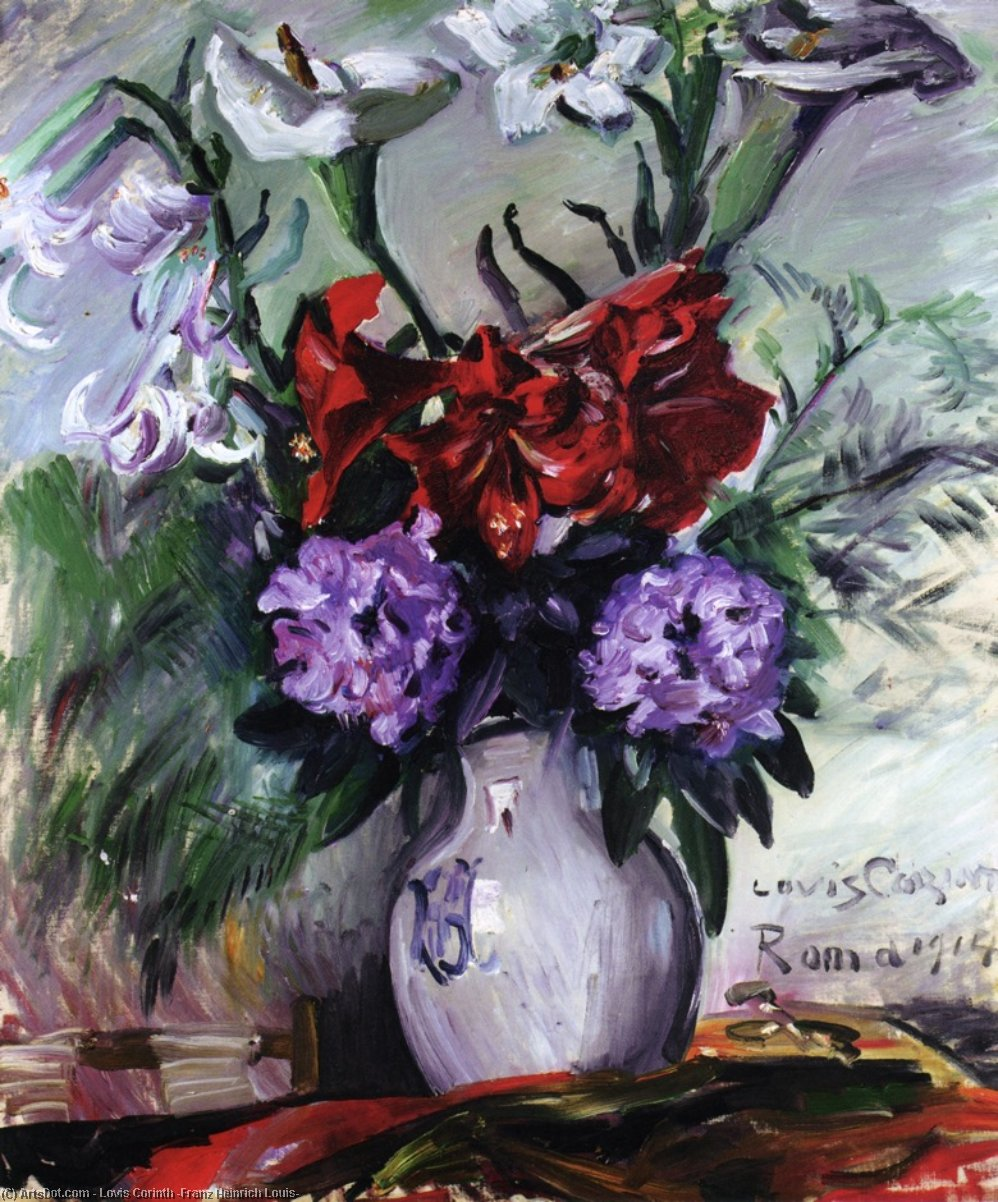 Roman Flowers in a Jug, Oil On Canvas by Lovis Corinth (Franz Heinrich Louis) (1858-1925, Netherlands)