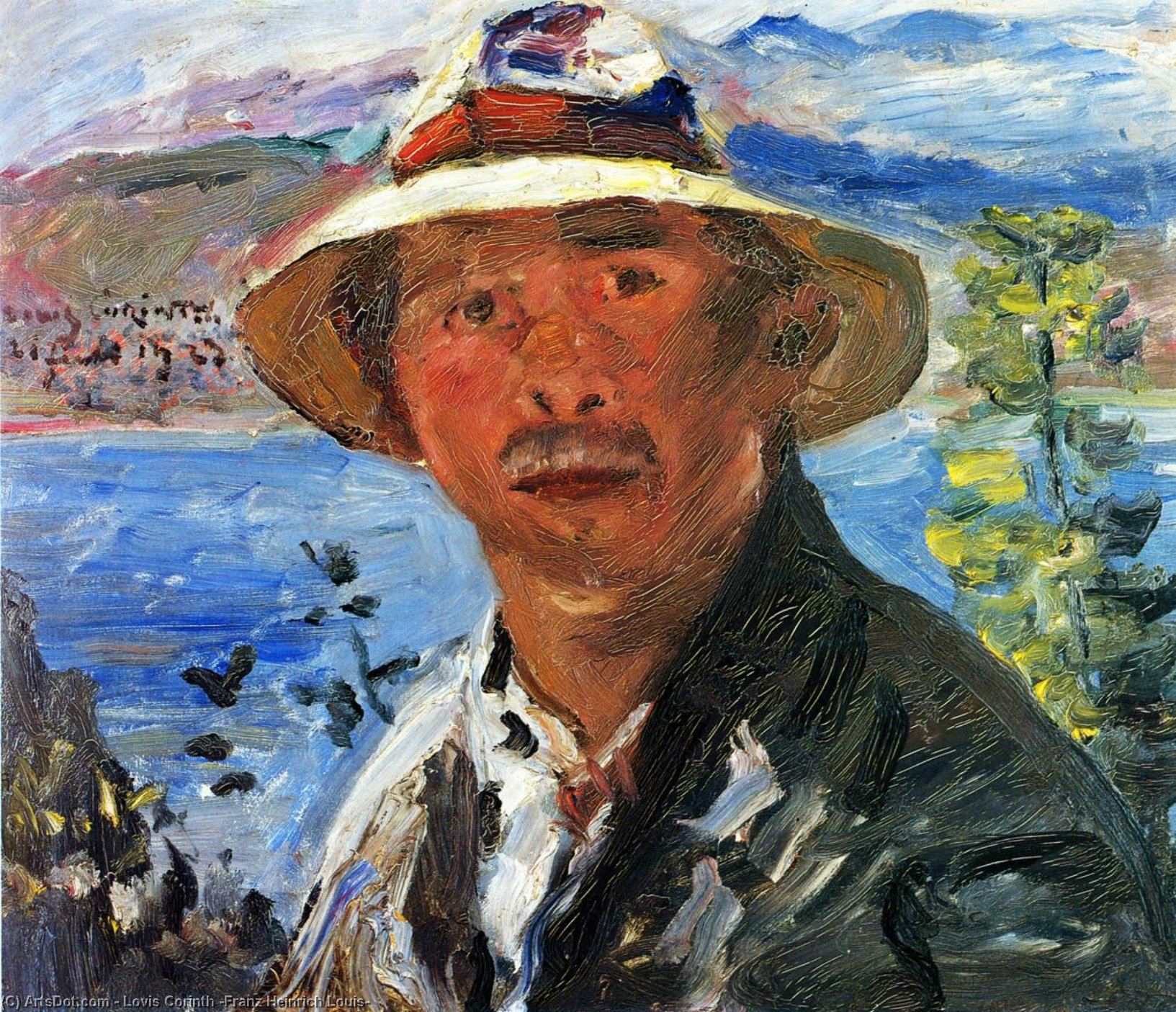 Self Portrait with Straw Hat, Oil On Panel by Lovis Corinth (Franz Heinrich Louis) (1858-1925, Netherlands)