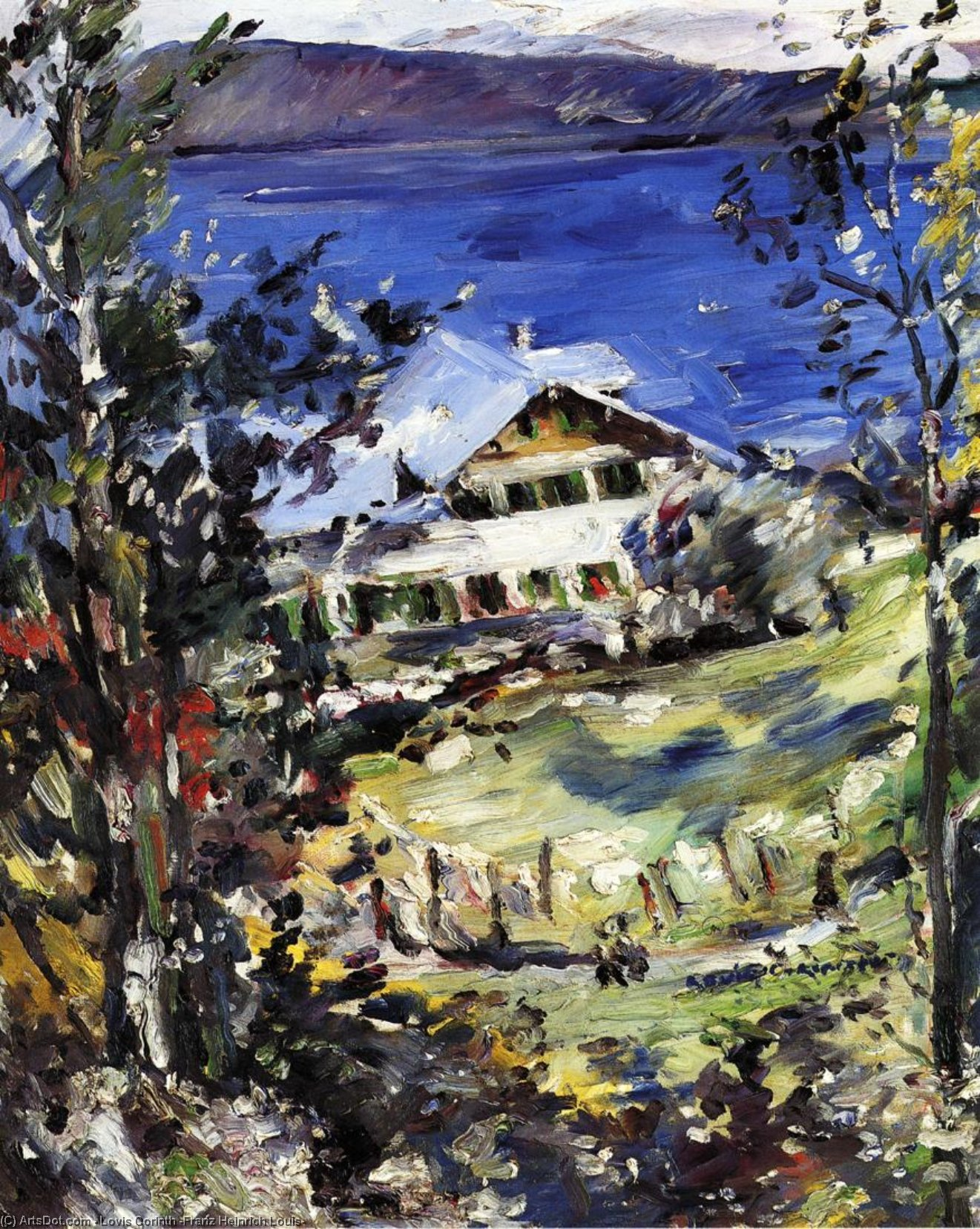 The Walchensee, Country House with Washing on the Line, Oil On Canvas by Lovis Corinth (Franz Heinrich Louis) (1858-1925, Netherlands)