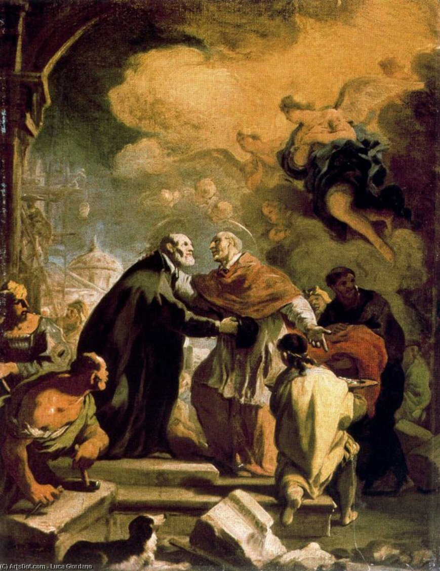 Meeting the Saints Charles Borromeo and Filippo Blacks by Luca Giordano (1634-1705, Italy)