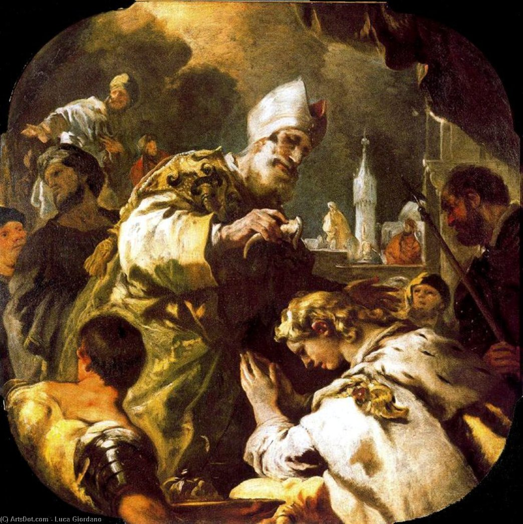 Solomon anointed king by Luca Giordano (1634-1705, Italy)