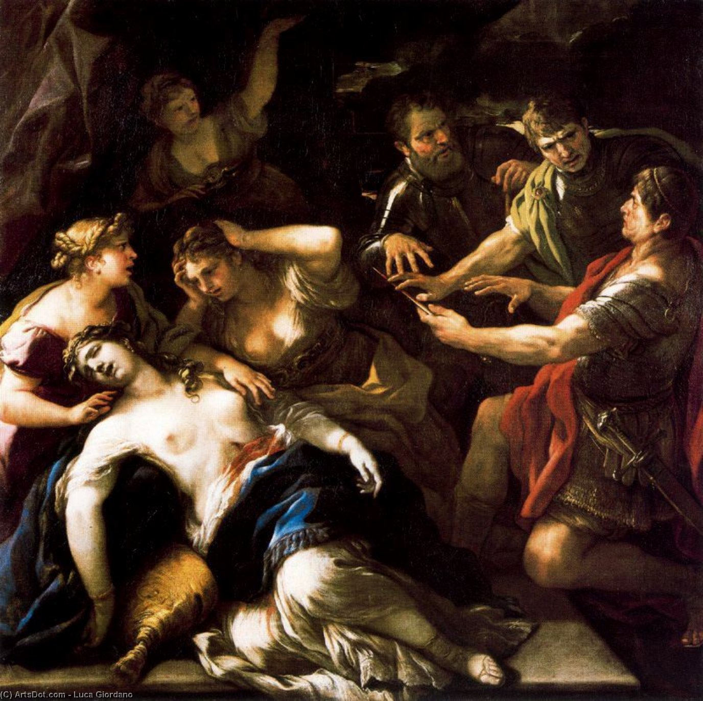 The Oath of Brutus against Tarquin the death of Lucrecia by Luca Giordano (1634-1705, Italy)
