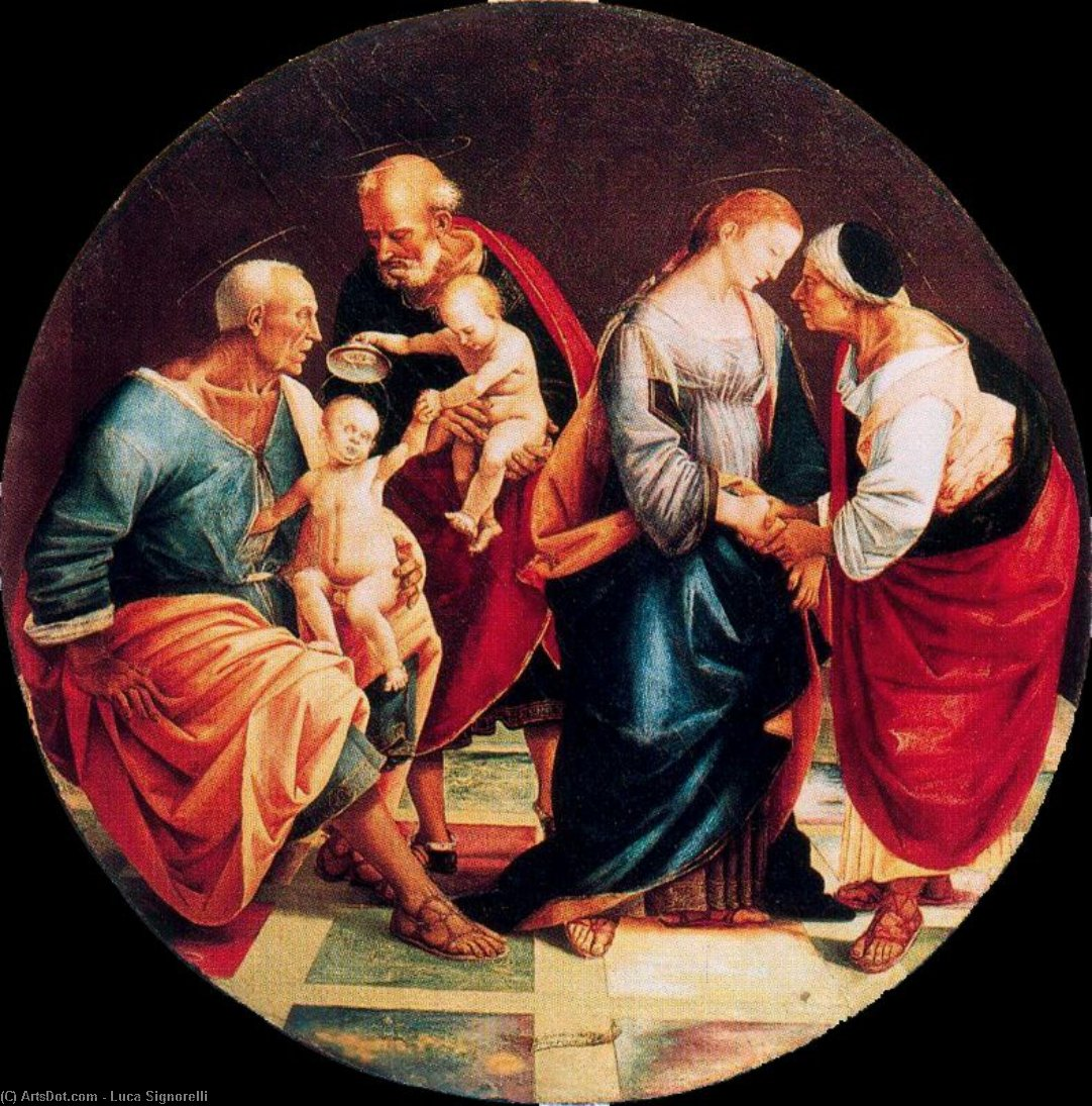 The Holy Family with Zachariah, Elizabeth, and the Infant Baptist by Luca Signorelli (1445-1523, Italy)