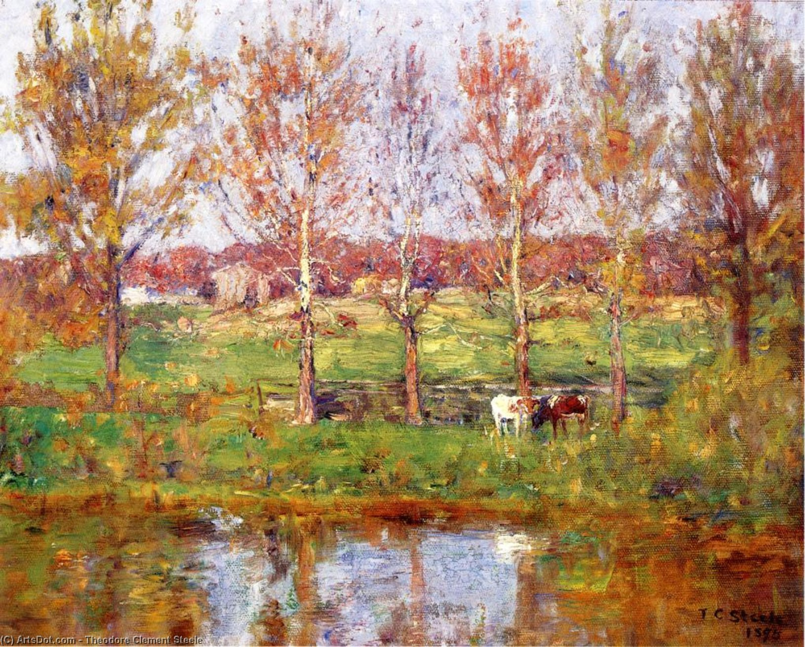 Cows by the Stream, 1895 by Theodore Clement Steele (1847-1926, United States) | Art Reproduction | ArtsDot.com