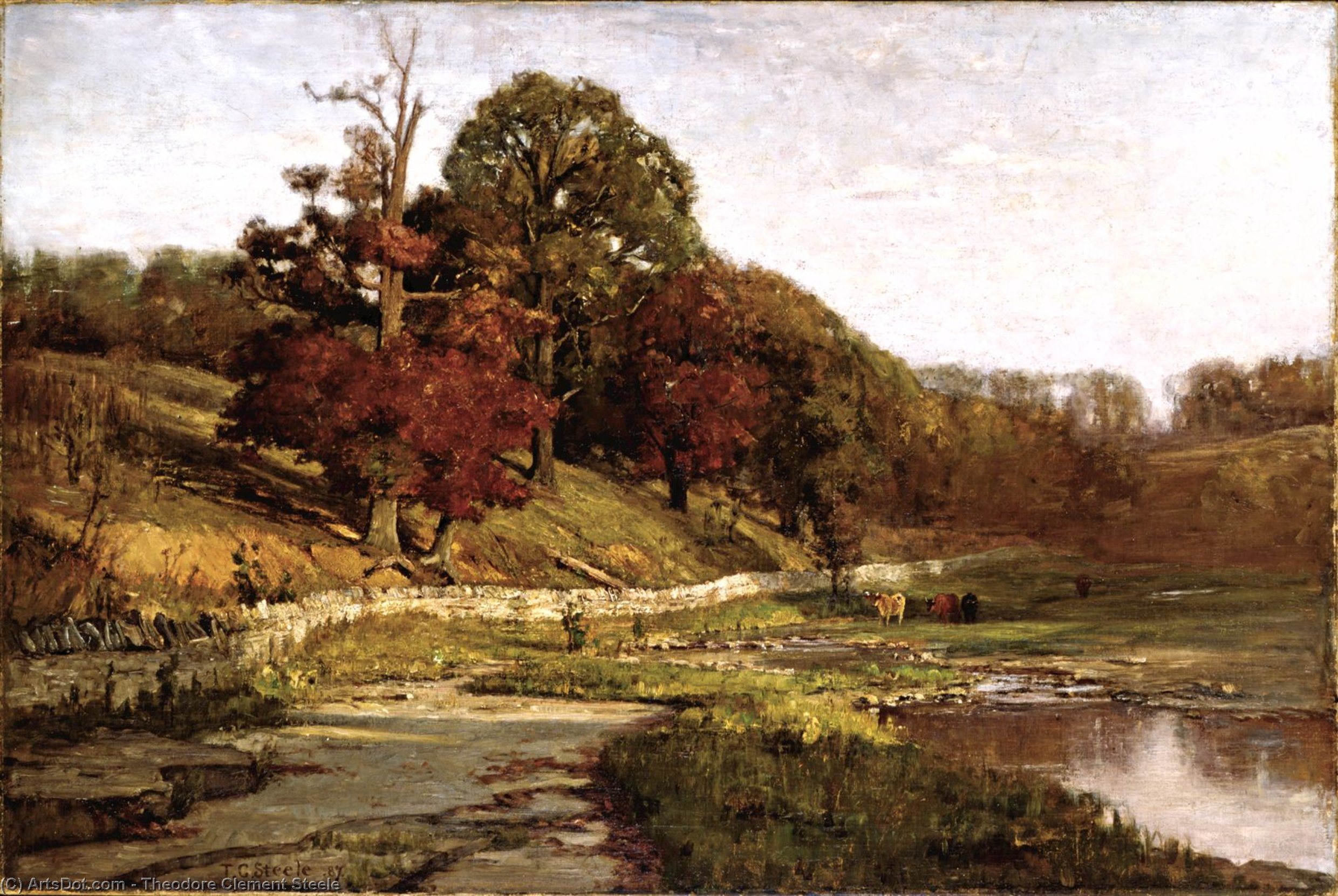 Oaks at Vernon by Theodore Clement Steele (1847-1926, United States) | Painting Copy | ArtsDot.com