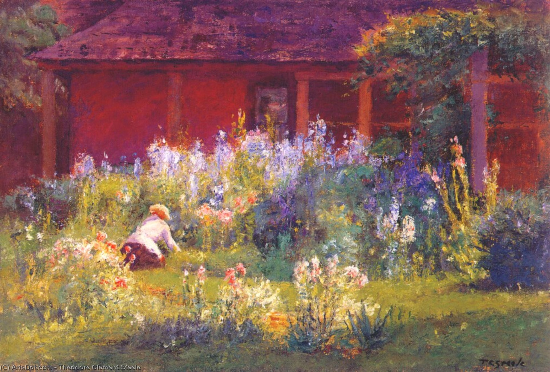 Selma In The Garden (Flower Garden) by Theodore Clement Steele (1847-1926, United States)