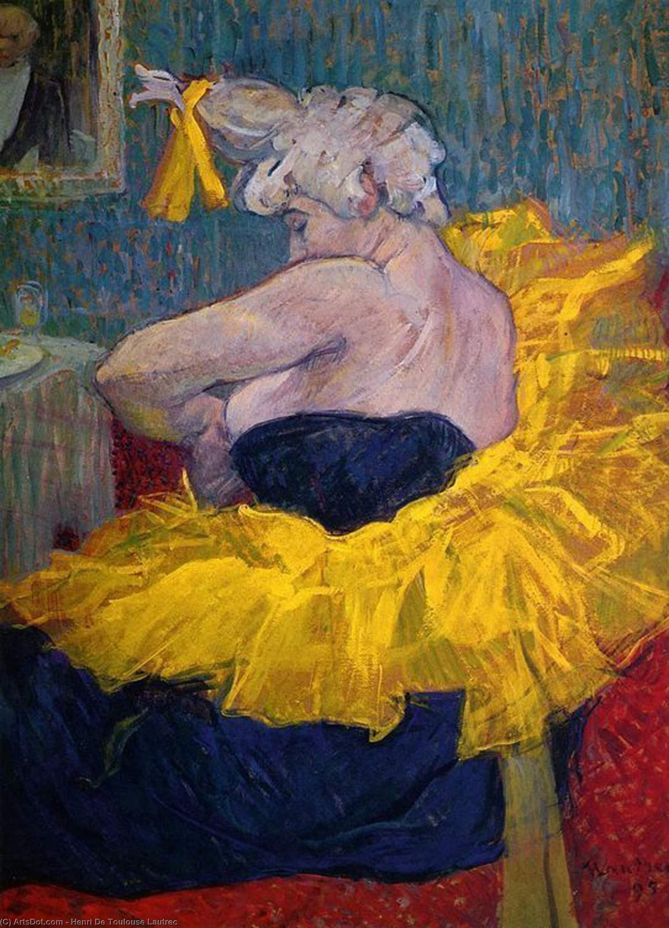 The Clowness Cha-U-Kao Fastening Her Bodice, Oil On Panel by Henri De Toulouse Lautrec (1864-1901, France)