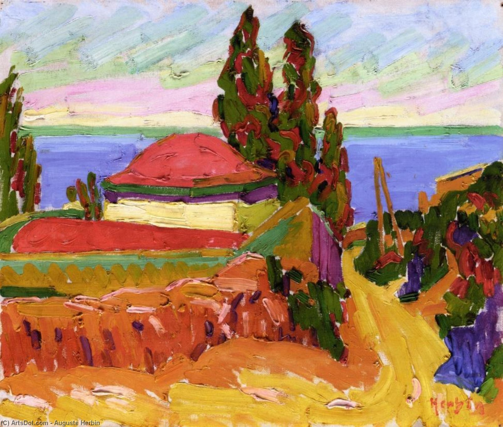 Corsican Landscape, Oil On Canvas by Auguste Herbin (1882-1960, France)