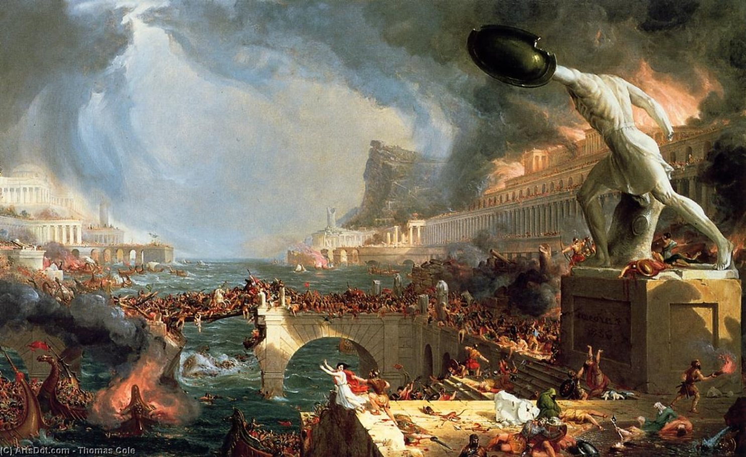 The Course of Empire: Destruction, Oil On Canvas by Thomas Cole (1801-1848, United Kingdom)