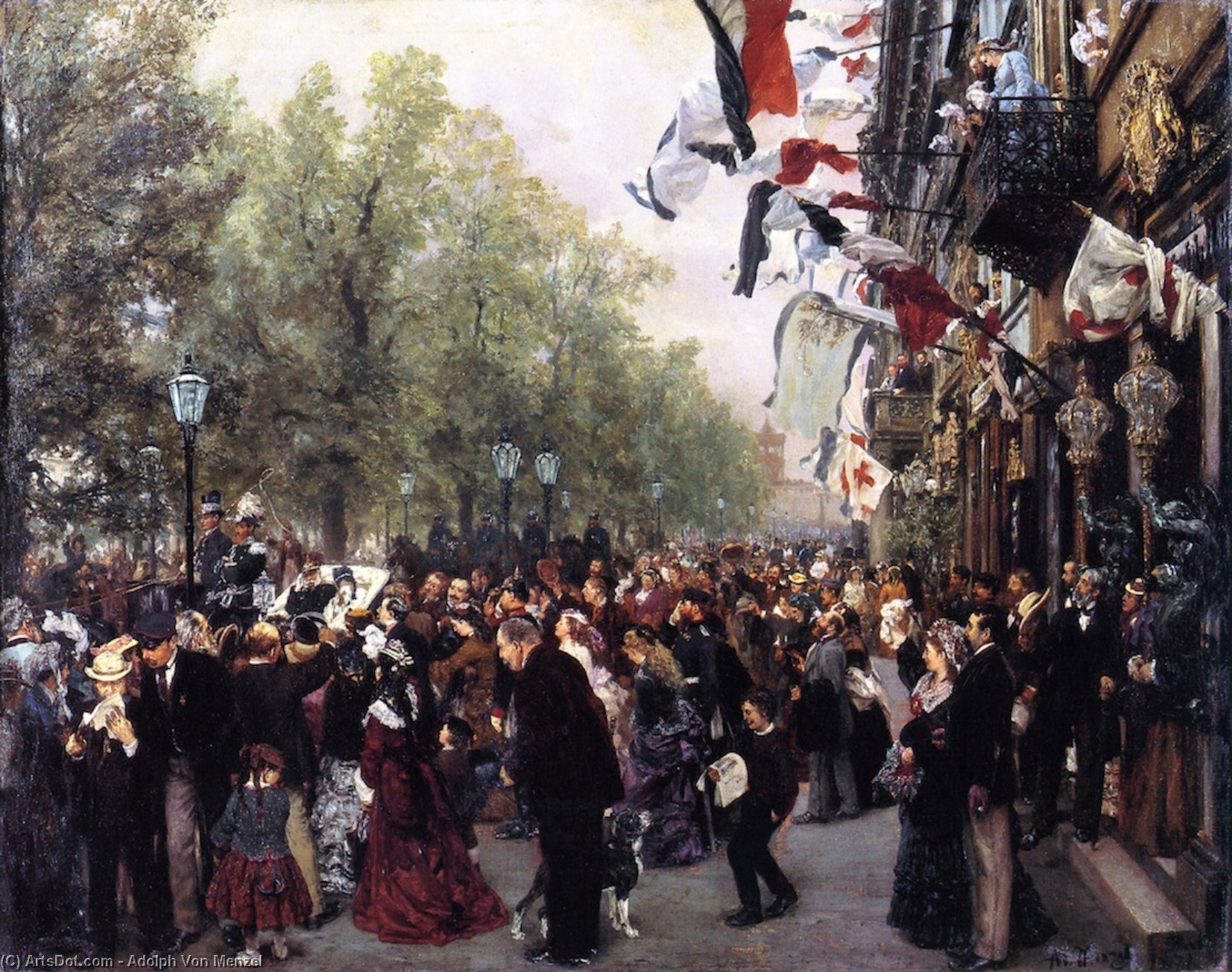 Departure of King William I for the Army, 31 July 1870, Oil On Canvas by Adolph Menzel (1815-1905, Poland)