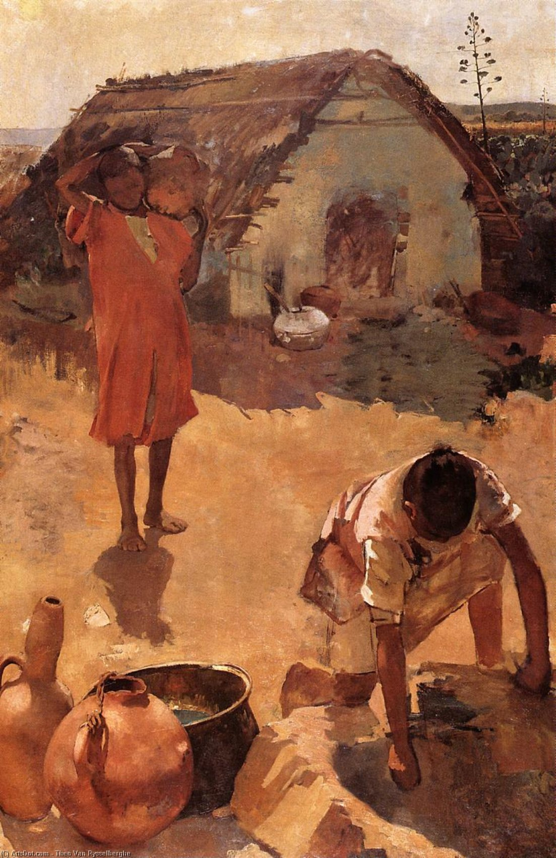 Figures near a Well in Morocco, Oil On Canvas by Theo Van Rysselberghe (1862-1926, Belgium)