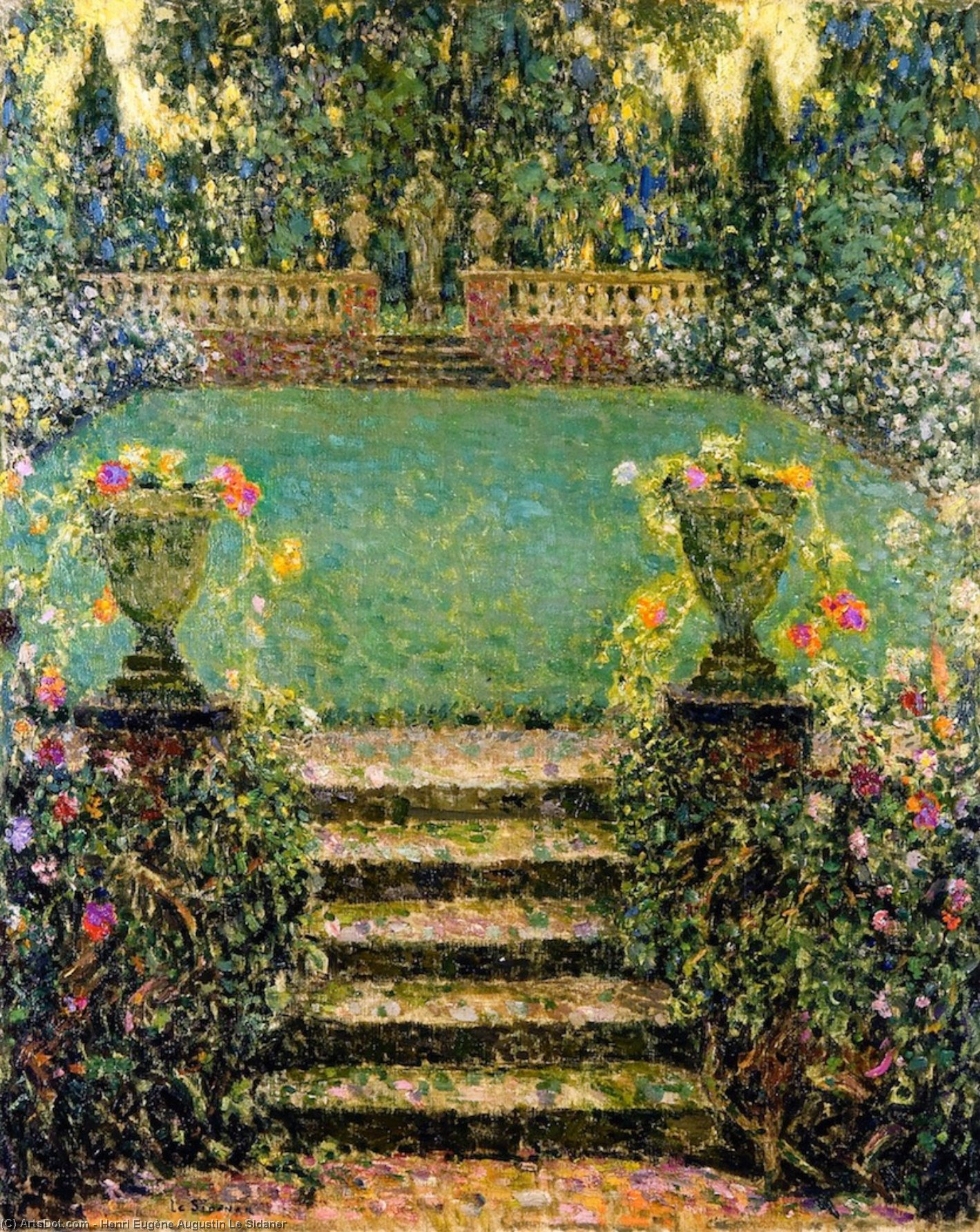The Garden's Steps, Gergeroy, Oil On Canvas by Henri Eugène Augustin Le Sidaner (1862-1939, Mauritius)