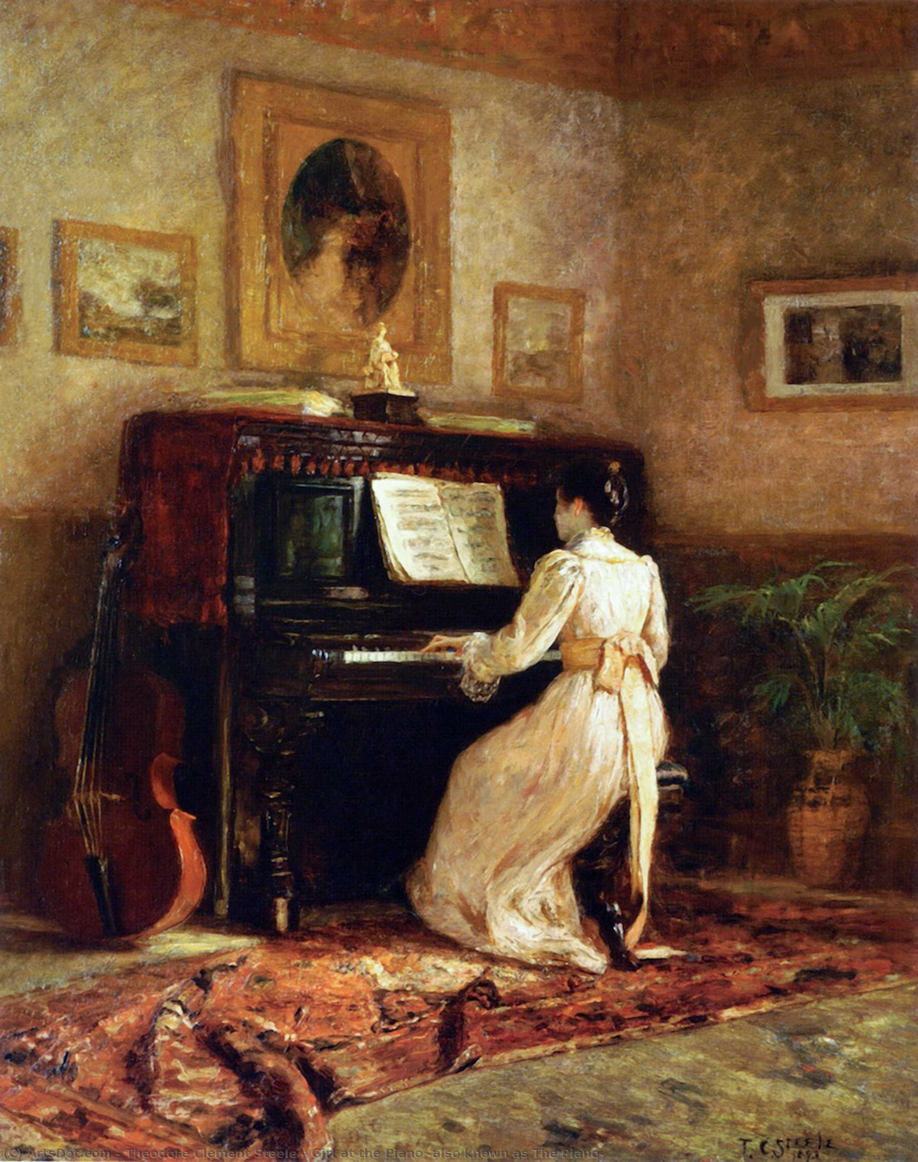 Girl at the Piano (also known as The Piano), 1893 by Theodore Clement Steele (1847-1926, United States) | Museum Quality Copies Theodore Clement Steele | ArtsDot.com