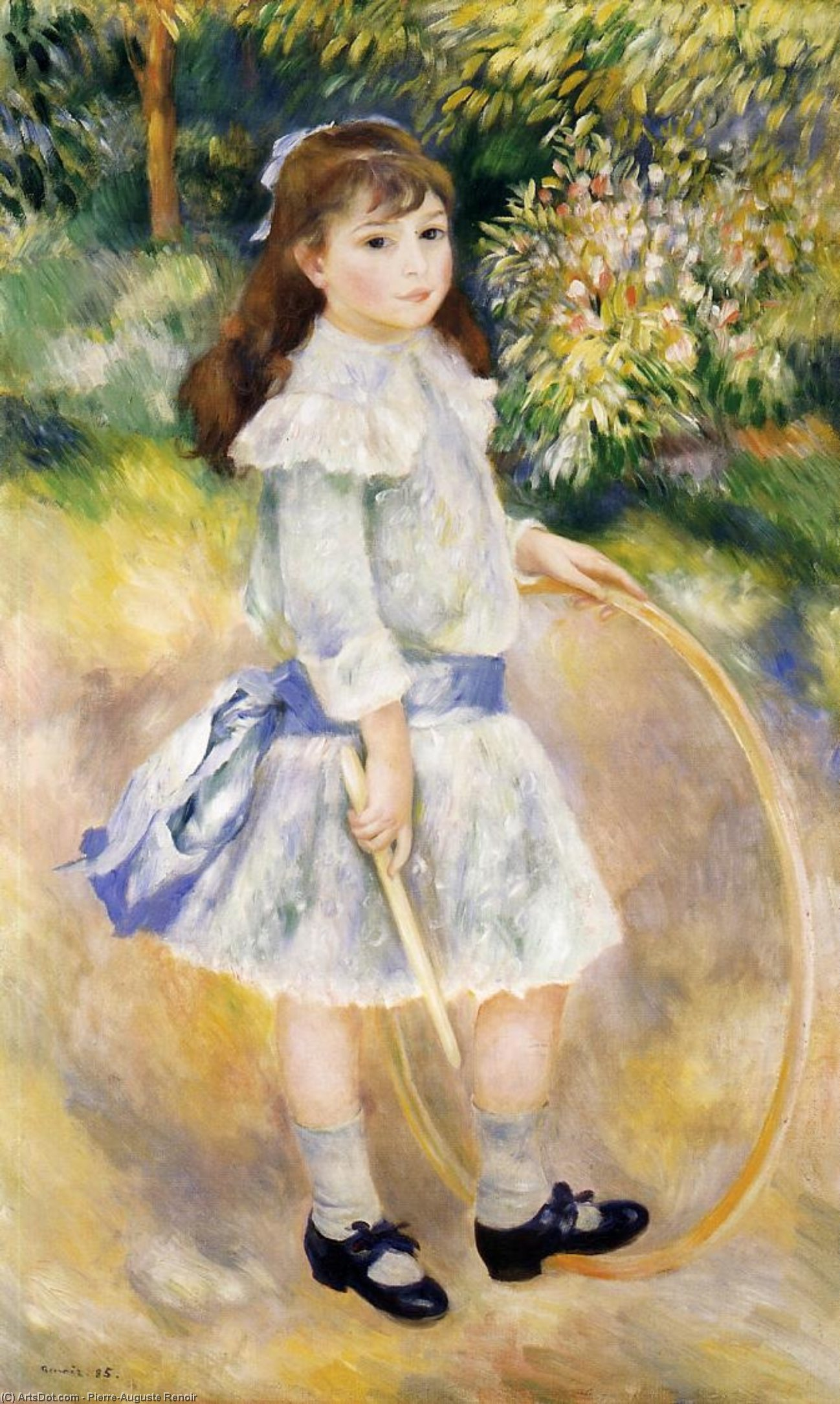 Order Oil Painting : Girl with a Hoop, 1885 by Pierre-Auguste Renoir (1841-1919, France) | ArtsDot.com