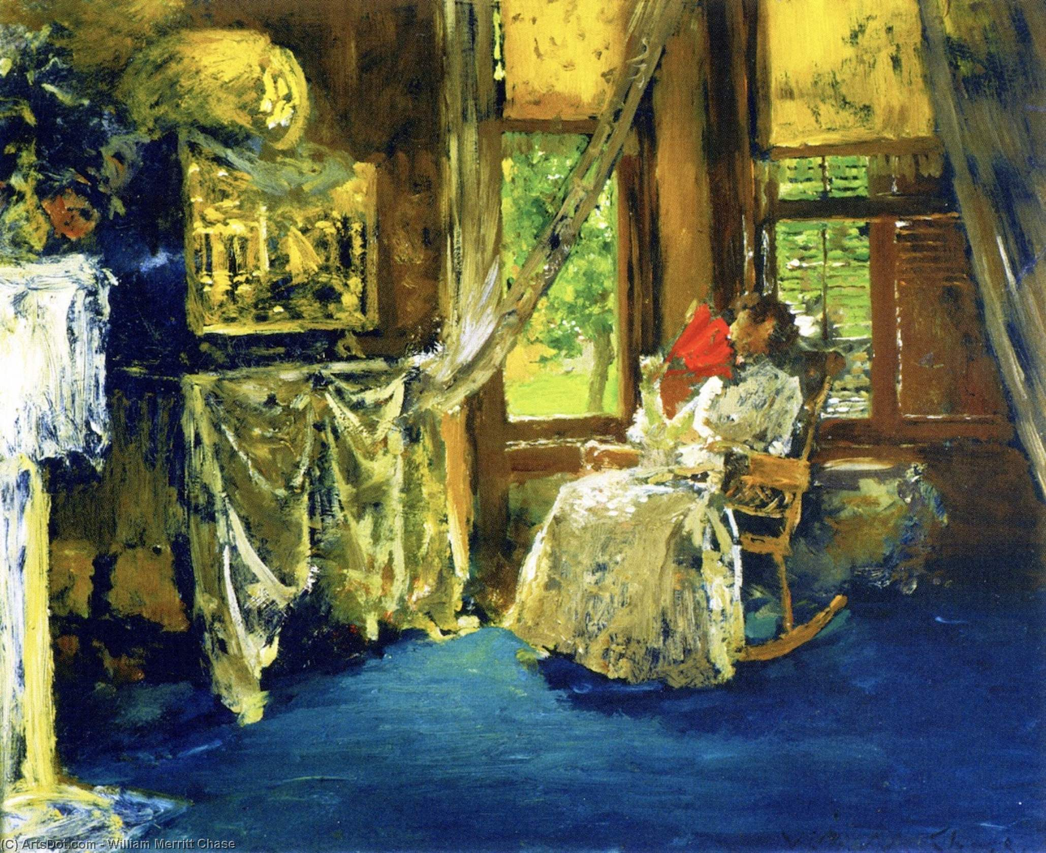 Interior, Oil On Panel by William Merritt Chase (1849-1916, United States)