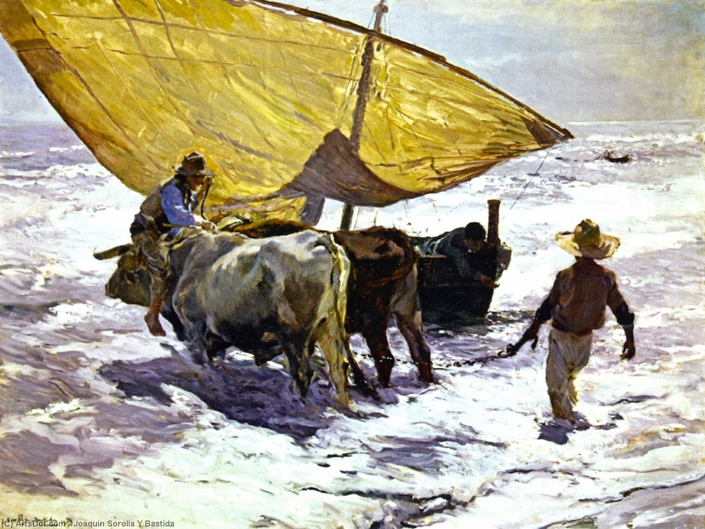 Landing the Boat, Valencia, Oil On Canvas by Joaquin Sorolla Y Bastida (1863-1923, Spain)