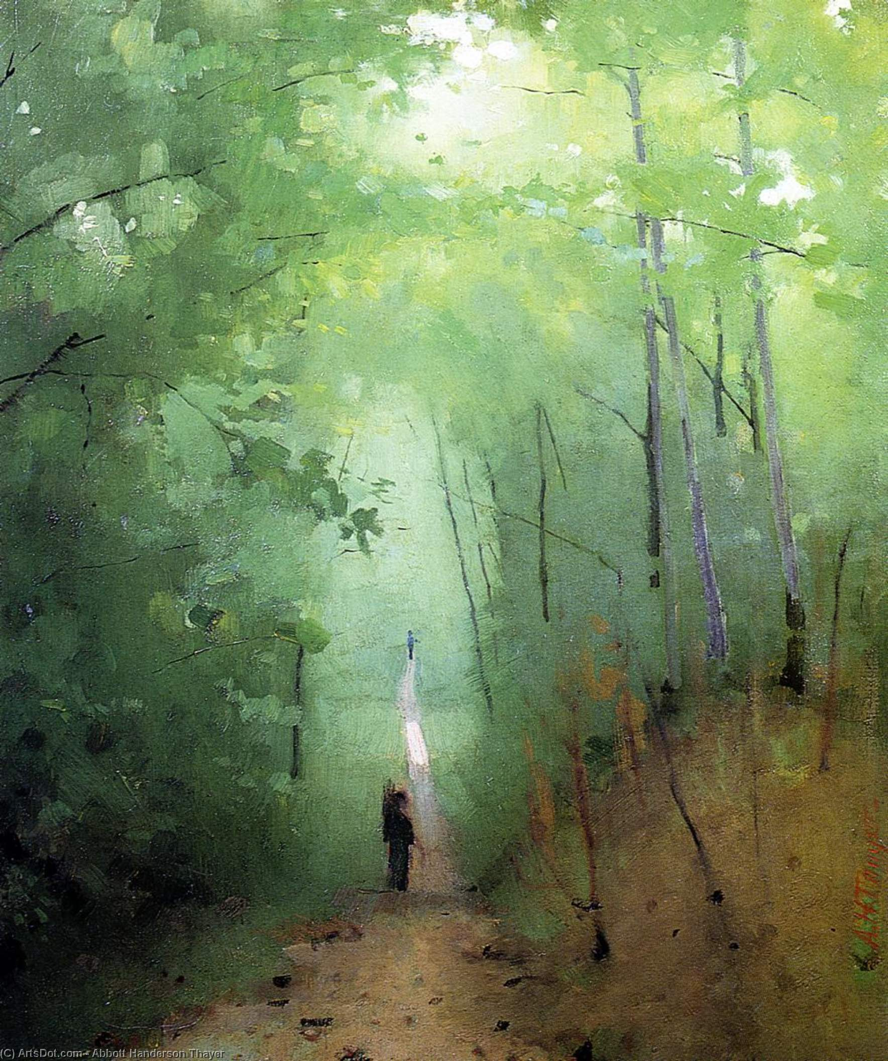 Landscape at Fontainebleau Forest, Painting by Abbott Handerson Thayer (1849-1921, United States)
