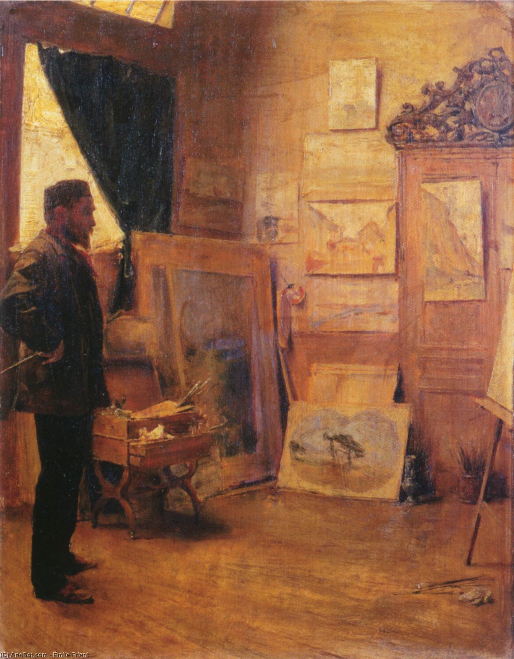 The Landscape Painter in his Studio, 1885 by Émile Friant (1863-1932, France)