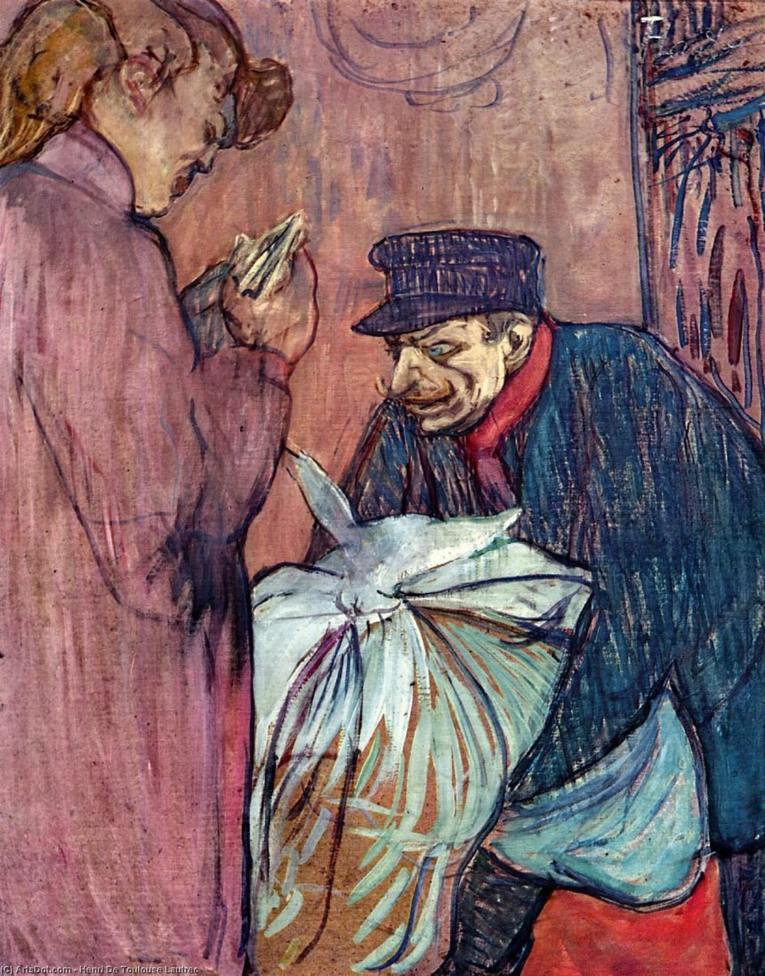 The Laundryman Calling at the Brothal, Oil by Henri De Toulouse Lautrec (1864-1901, France)