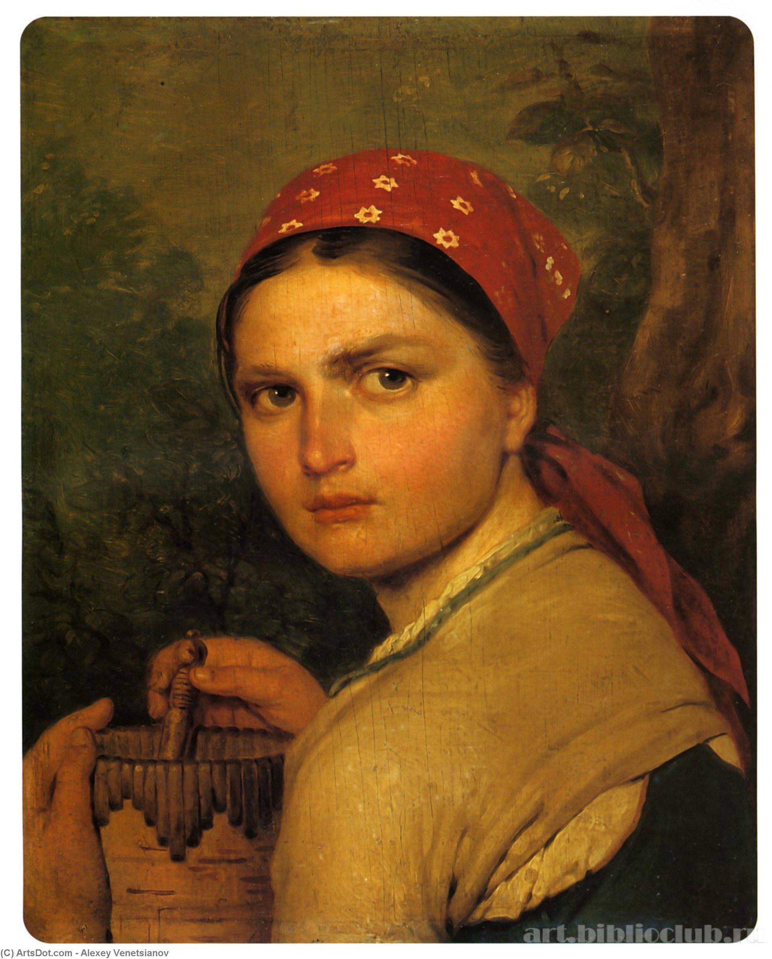 Girl with Burak, Oil by Alexey Venetsianov (1780-1847, Russia)
