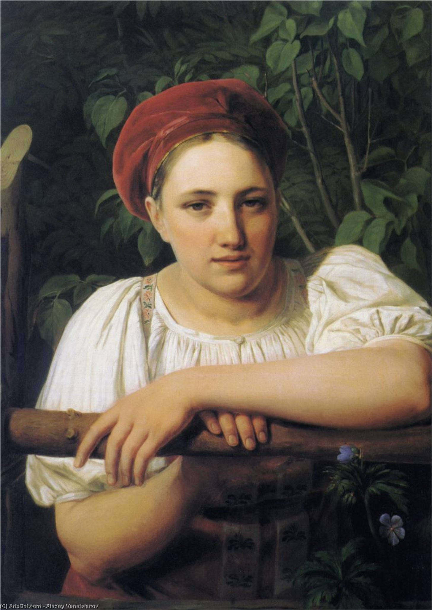A Peasant girl from Tver, 1840 by Alexey Venetsianov (1780-1847, Russia)