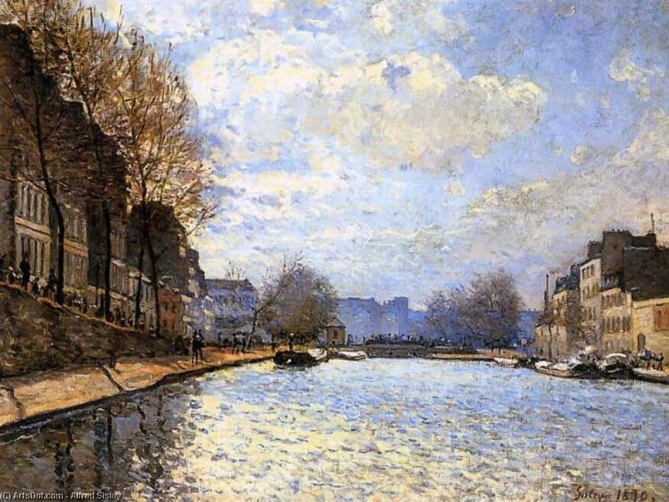 The Saint Martin Canal in Paris, 1870 by Alfred Sisley (1839-1899, France) | Paintings Reproductions Alfred Sisley | ArtsDot.com