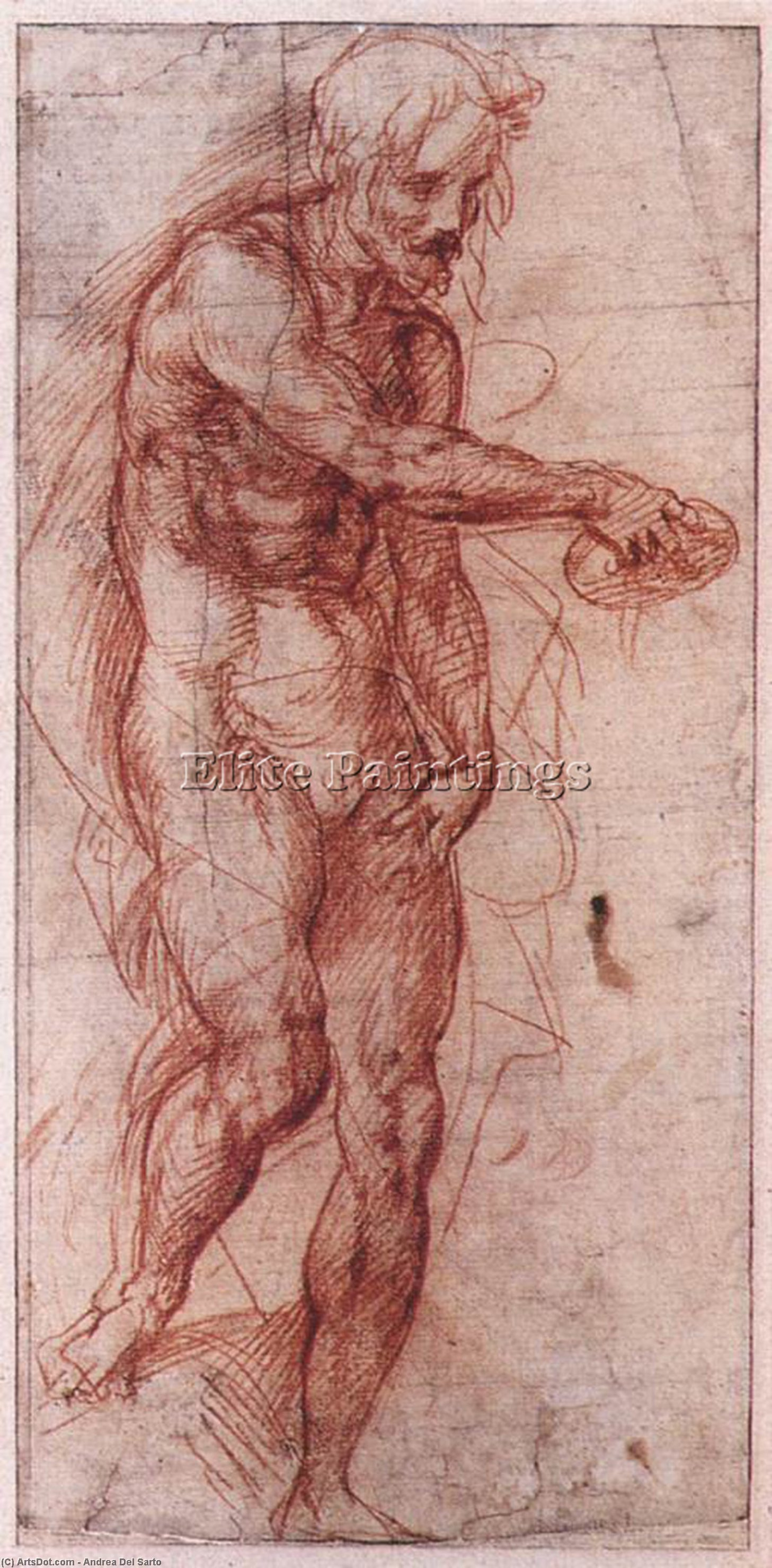 Order Museum Quality Reproductions : Study for the Baptism of the People, 1515 by Andrea Del Sarto (1486-1530, Italy) | ArtsDot.com