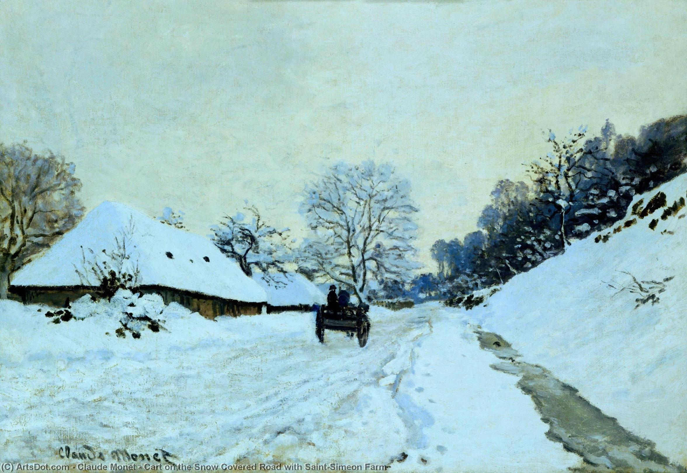 Cart on the Snow Covered Road with Saint-Simeon Farm, 1865 by Claude Monet (1840-1926, France) | Museum Quality Reproductions | ArtsDot.com