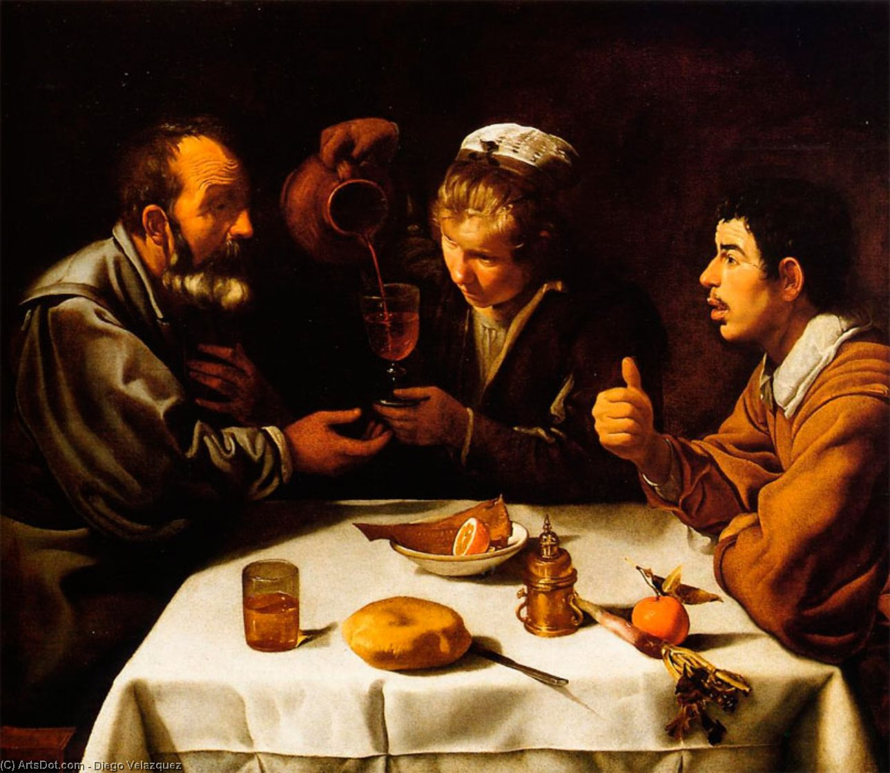 The Lunch, Oil On Canvas by Diego Velazquez (1599-1660, Spain)