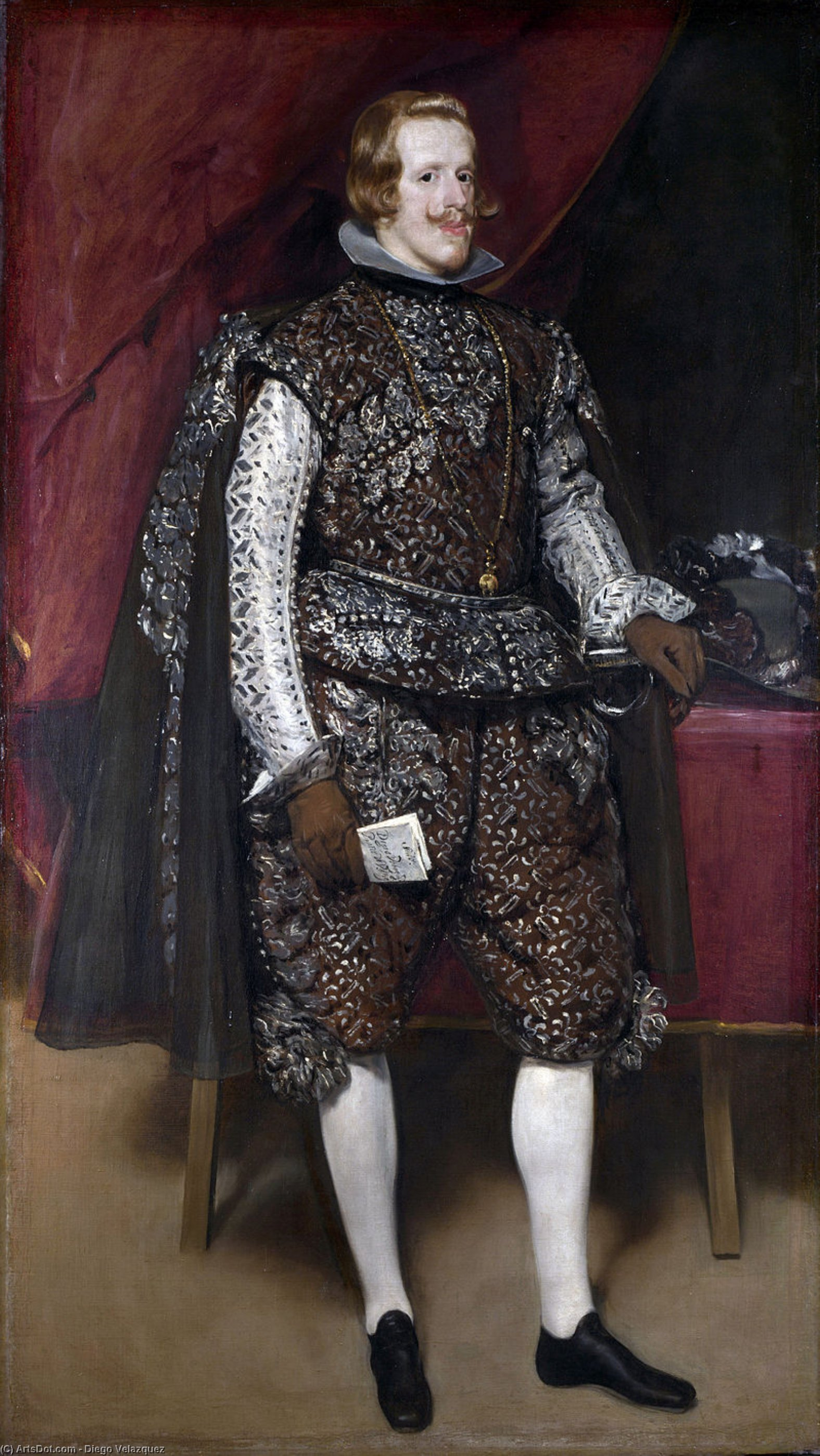 Philip IV of Spain in Brown and Silver, Oil On Canvas by Diego Velazquez (1599-1660, Spain)