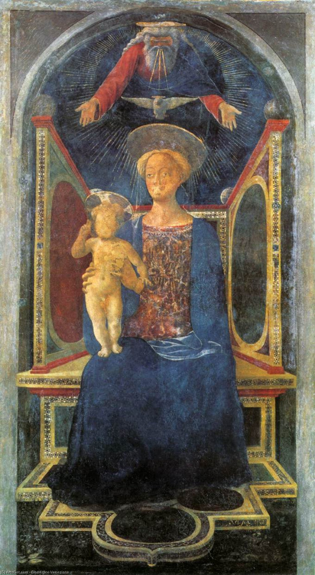 Madonna and Child, Frescoes by Domenico Veneziano (1410-1461, Italy)