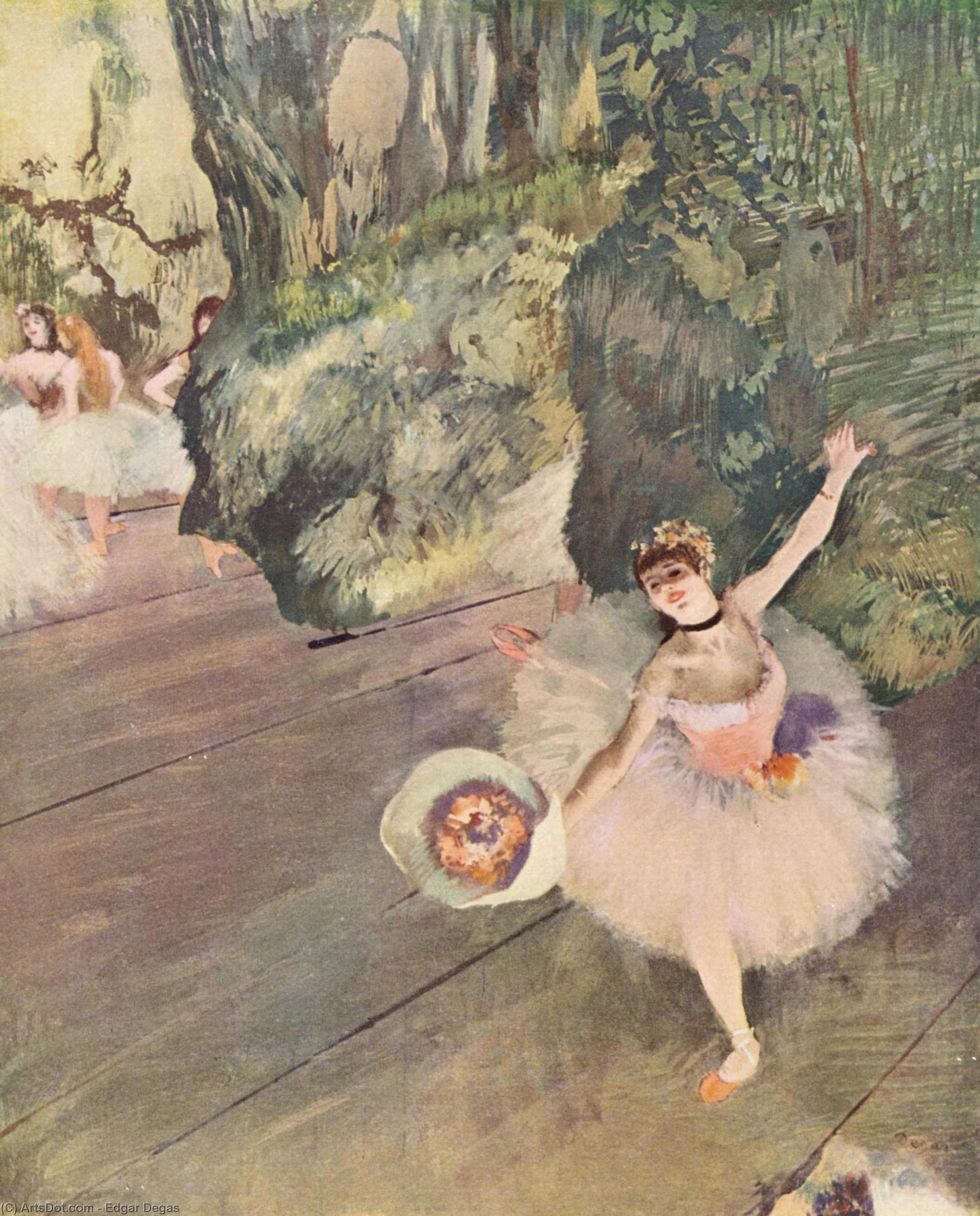 Dancer with a bouquet of flowers (The Star of the ballet), 1878 by Edgar Degas (1834-1917, France) | Painting Copy | ArtsDot.com