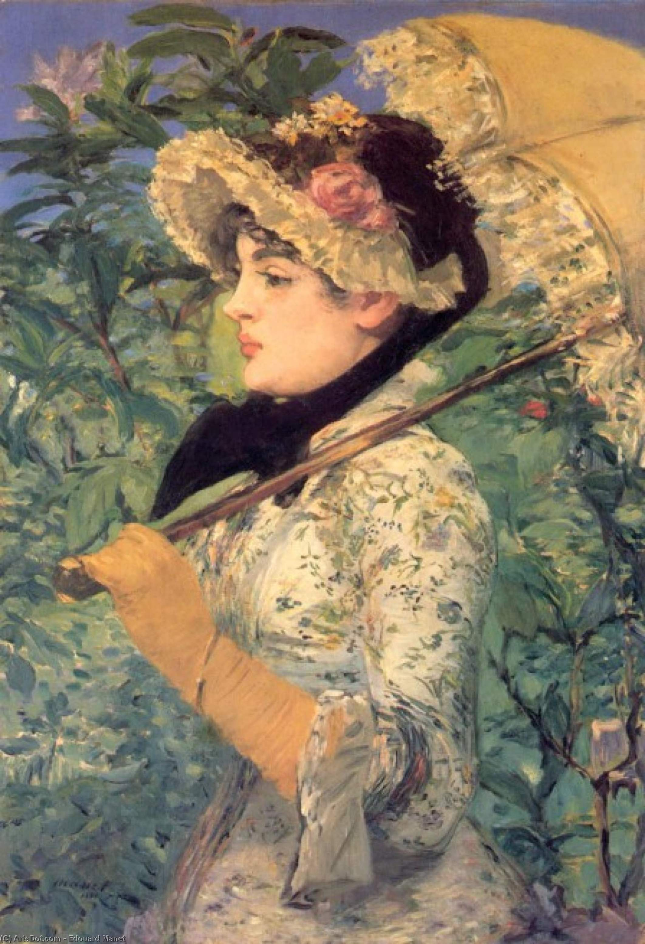 Spring (Study of Jeanne Demarsy), 1882 by Edouard Manet (1832-1883, France) | Art Reproductions Edouard Manet | ArtsDot.com