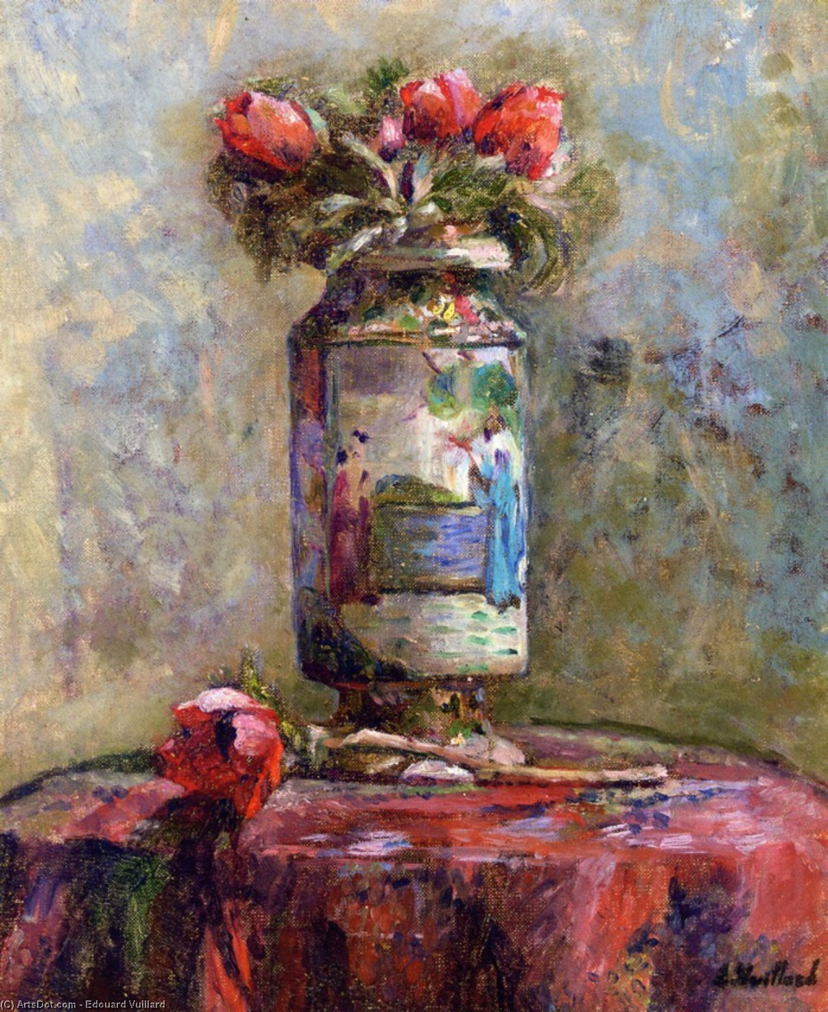 Order Reproductions | Anemones in a Chinese, 1901 by Jean Edouard Vuillard (1868-1940, France) | ArtsDot.com