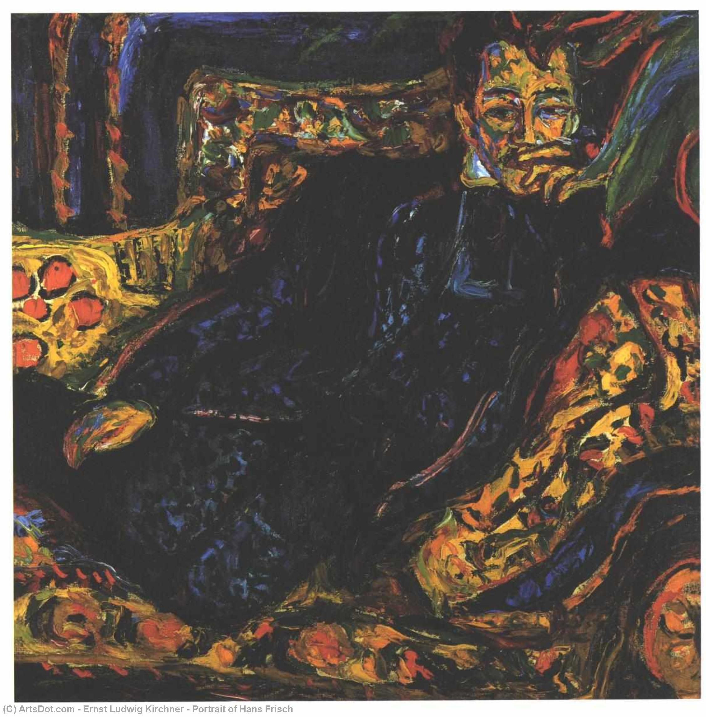 Order Art Reproduction : Portrait of Hans Frisch, 1917 by Ernst Ludwig Kirchner (1880-1938, Germany) | ArtsDot.com