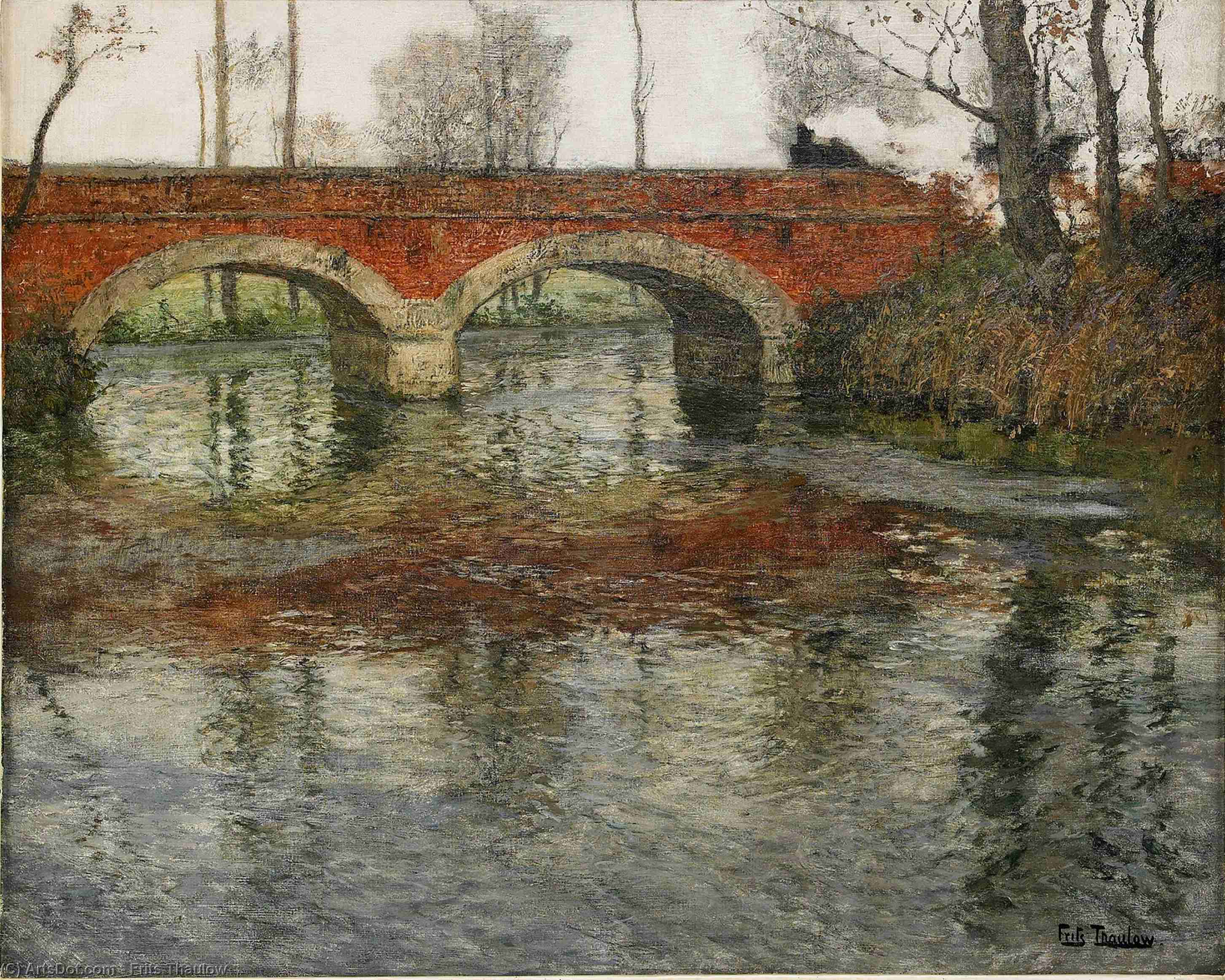 French River Landscape with a Stone Bridge by Frits Thaulow (1847-1906, Norway) | ArtsDot.com