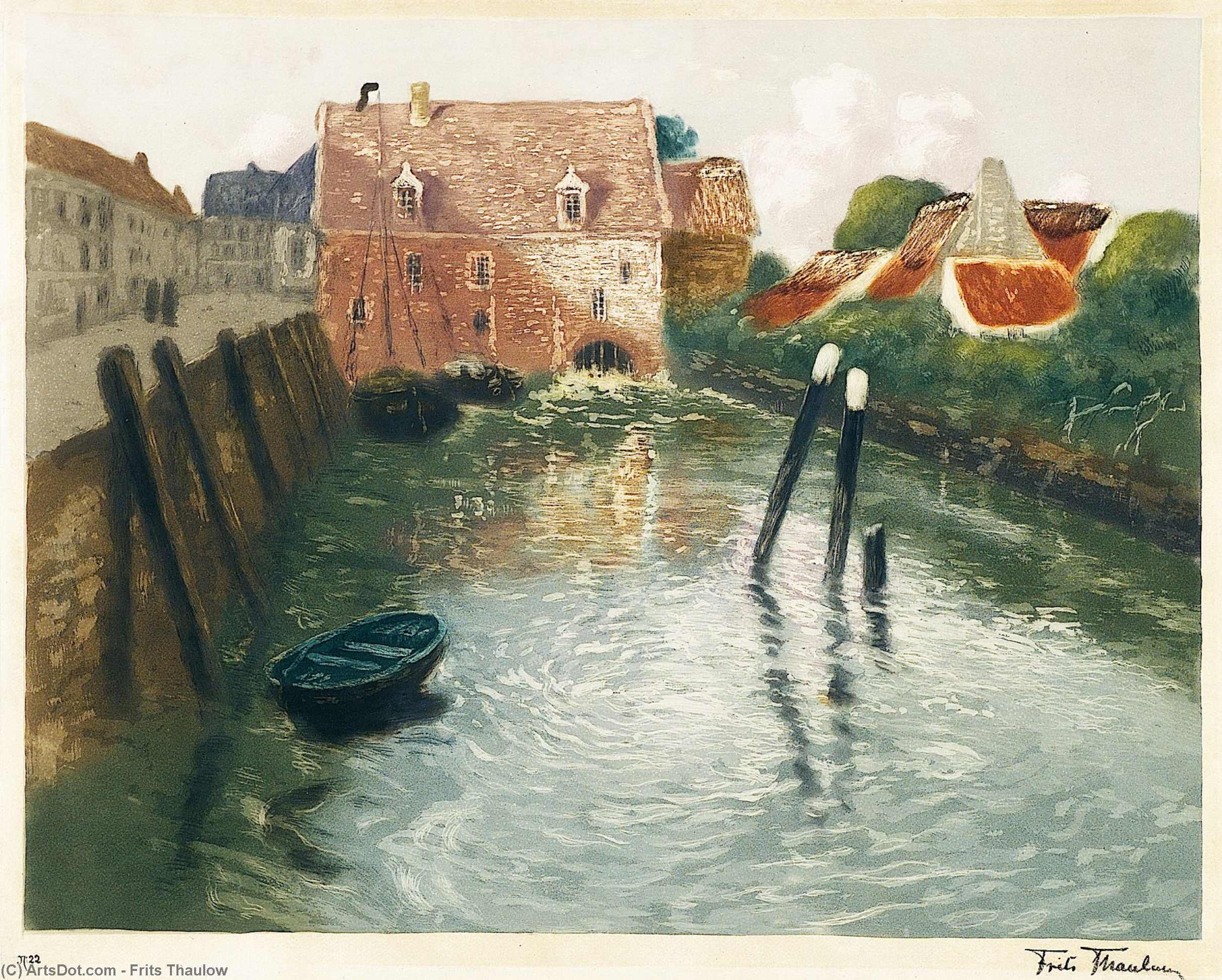 Channel with Watermill by Frits Thaulow (1847-1906, Norway)