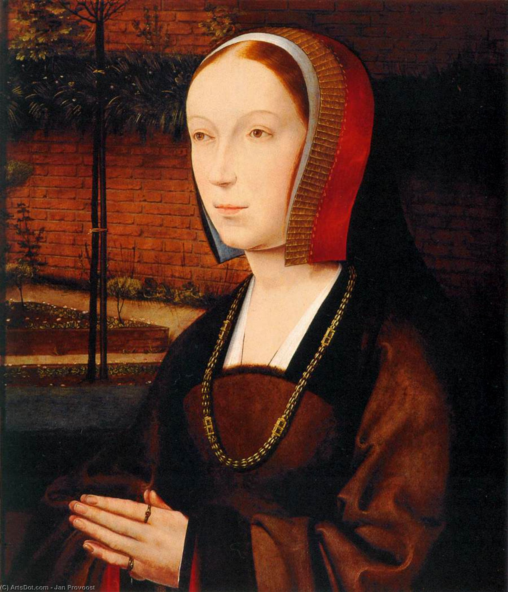 Portrait of a Female Donor, Oil On Panel by Jan Provoost (1462-1529, Belgium)