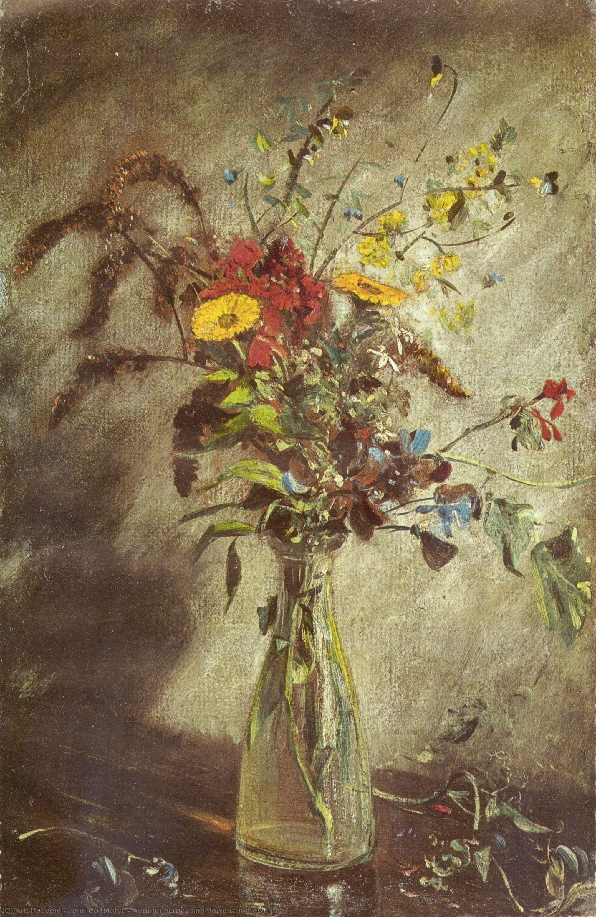 Order Museum Quality Copies | Autumn berries and flowers in brown pot by John Constable (1776-1837, United Kingdom) | ArtsDot.com