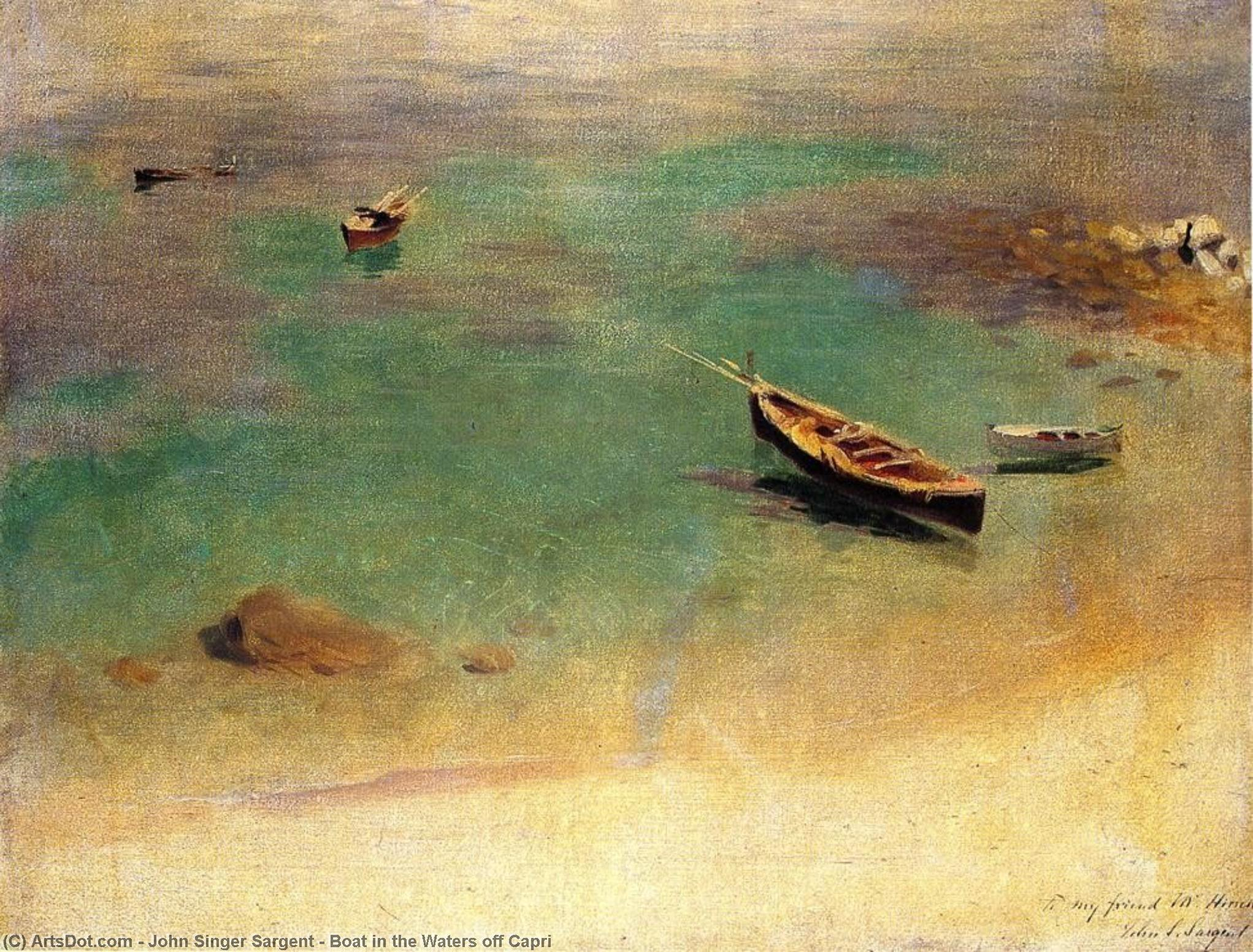 Boat in the Waters off Capri, 1878 by John Singer Sargent (1856-1925, Italy) | Museum Quality Copies John Singer Sargent | ArtsDot.com