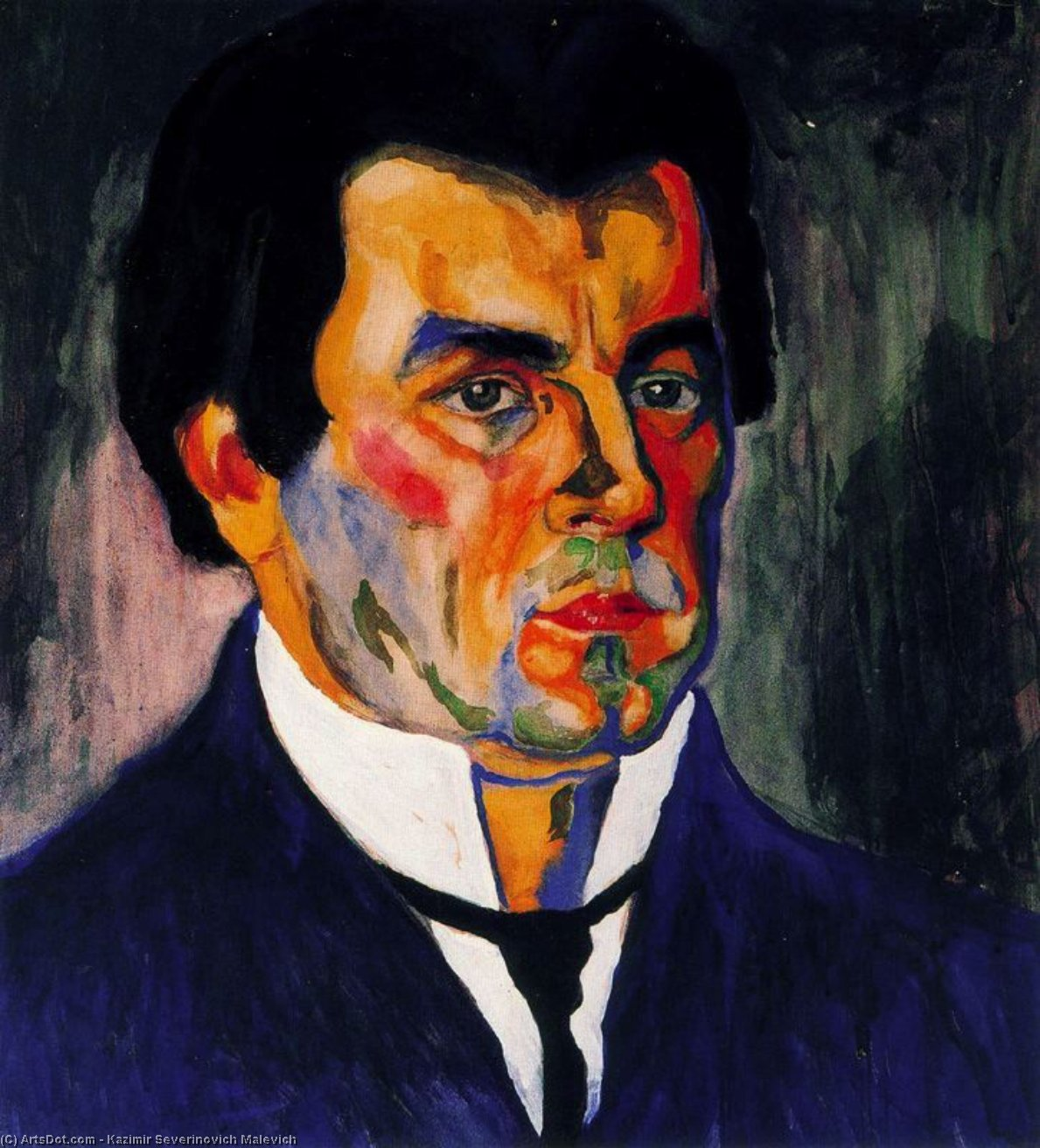 Self Portrait, 1911 by Kazimir Severinovich Malevich (1879-1935, Ukraine) | Oil Painting | ArtsDot.com