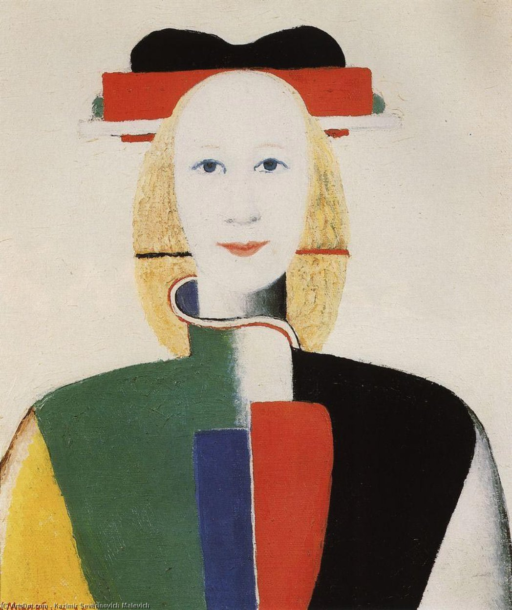 Girl with a Comb in her Hair, Oil On Canvas by Kazimir Severinovich Malevich (1878-1935, Ukraine)